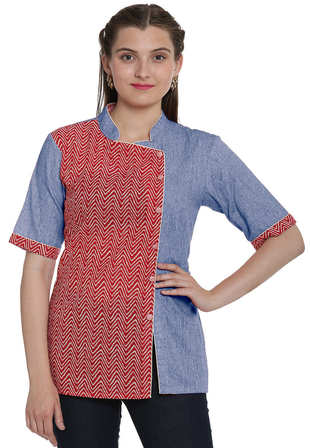 c841992b2bd73f Hand Block Printed Cotton Linen Top in Red and Light Blue   TUC222