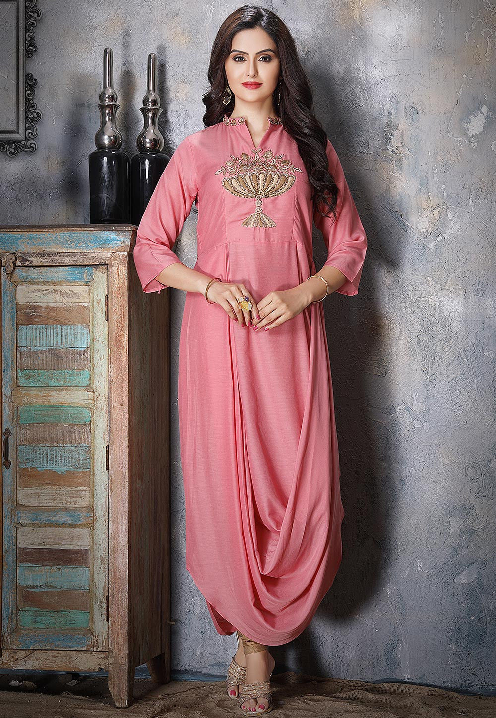 Hand Embroidered Art Silk Cowl Style Kurta in Pink