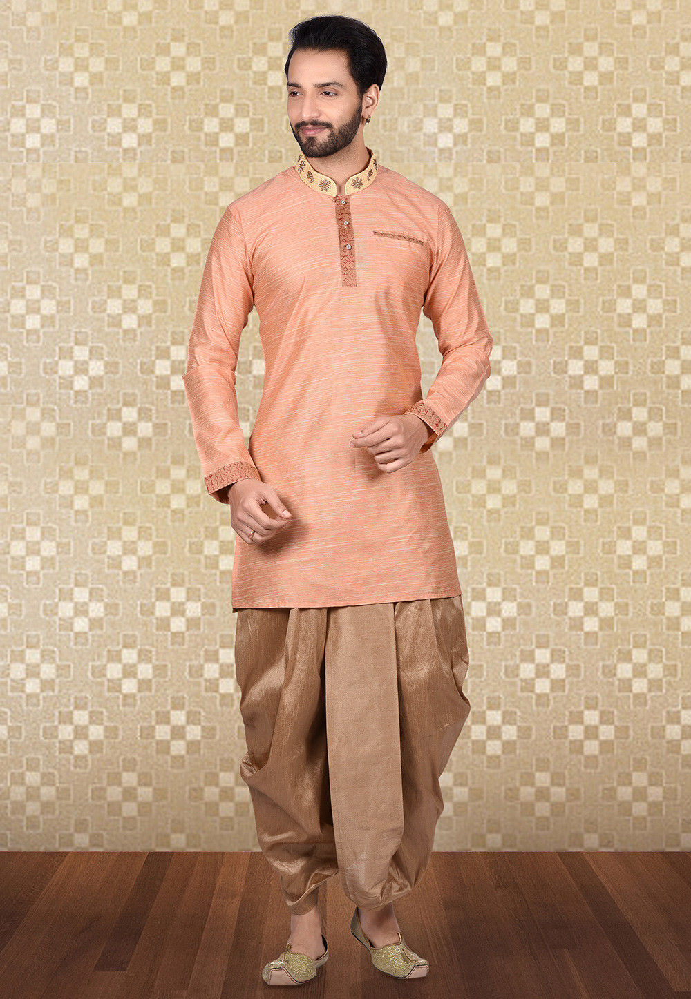Hand Embroidered Art Silk Dhoti Kurta in Peach