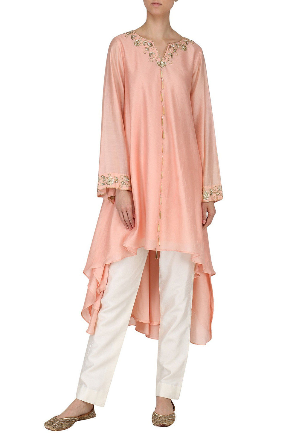 Hand Embroidered Art Silk High Low Tunic Set in Peach