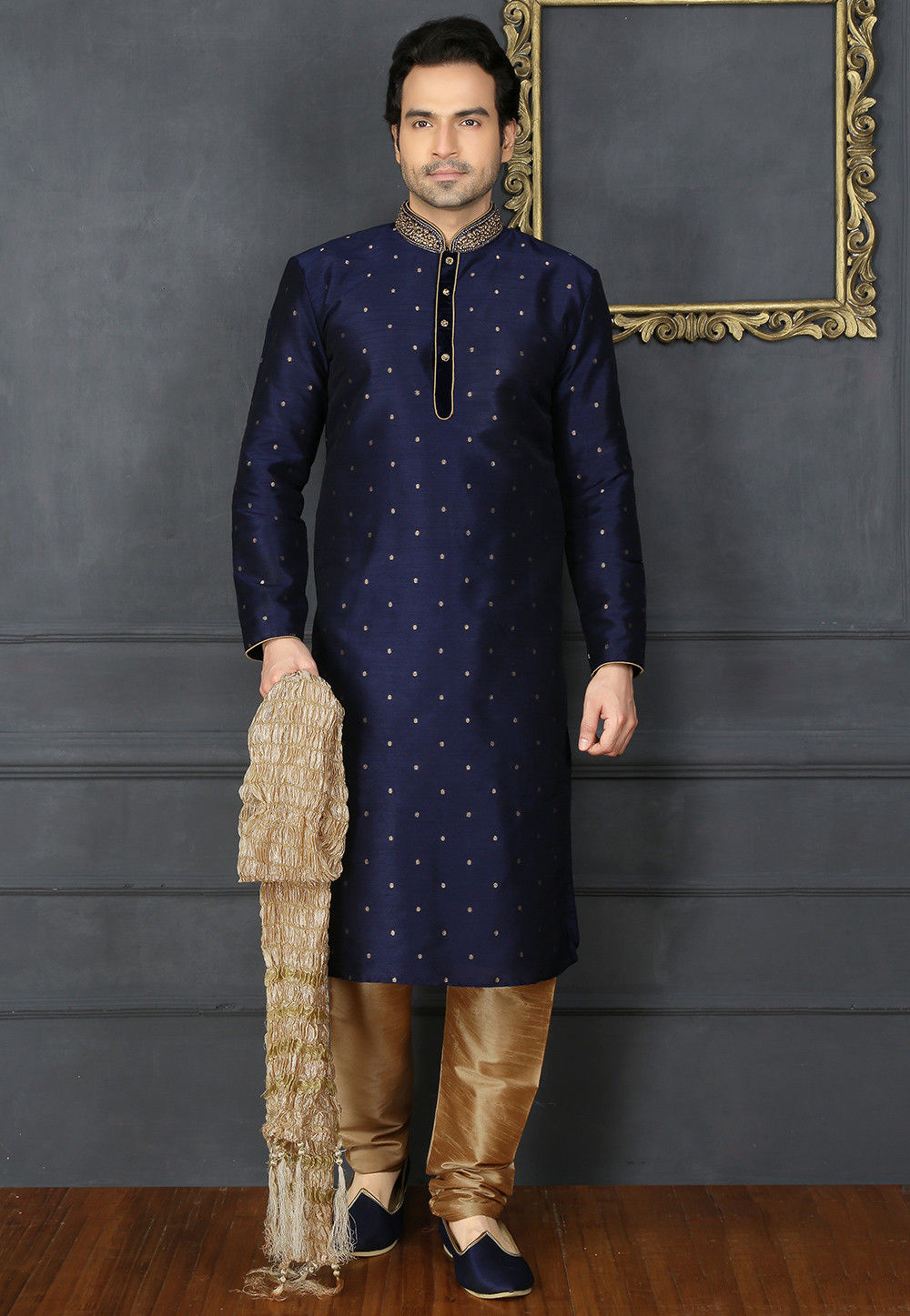 Hand Embroidered Art Silk Jacquard Kurta Set In Navy Blue