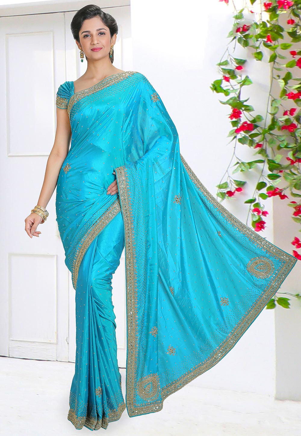 fb973297f37 Hand Embroidered Art Silk Saree in Turquoise   SSVA557