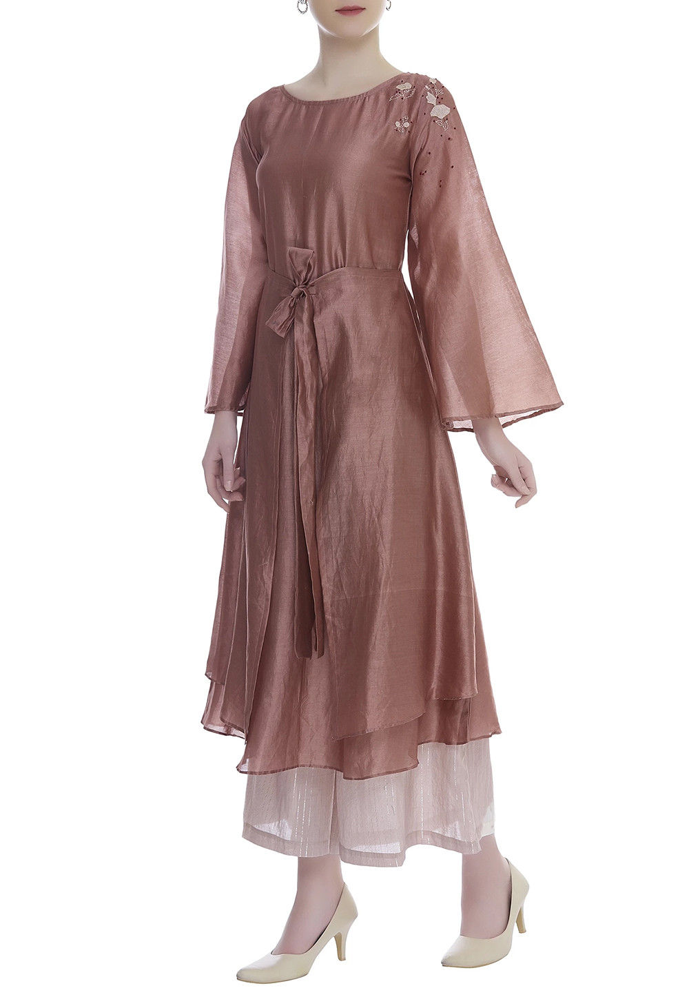 Hand Embroidered Chanderi Kurta Palazzo Set In Brown Tzg78