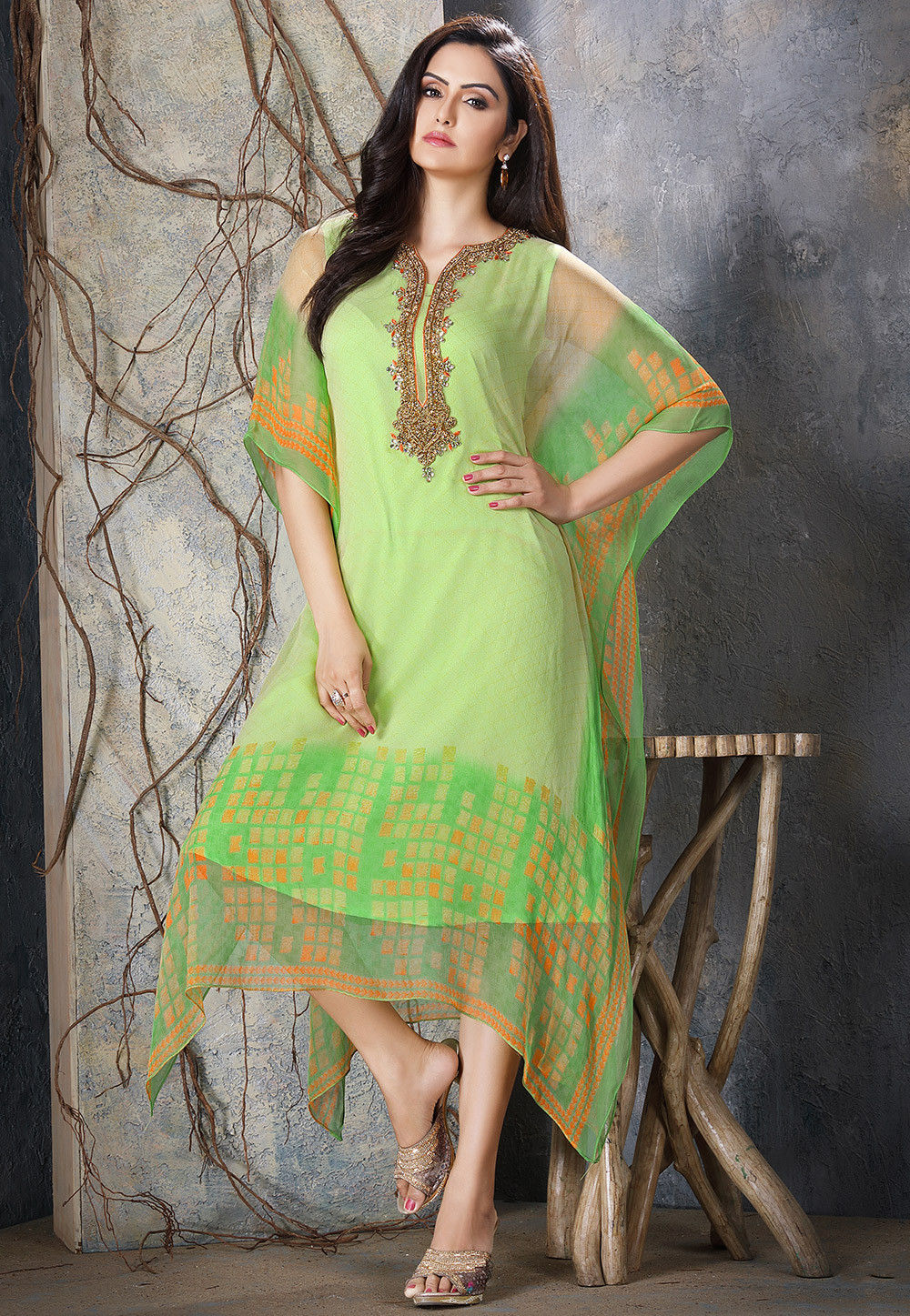 88bcc45c47e ... Hand Embroidered Chiffon Kaftan in Light Green. Zoom