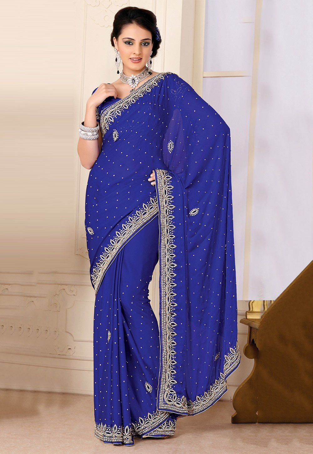 Hand Embroidered Chiffon Saree in Blue