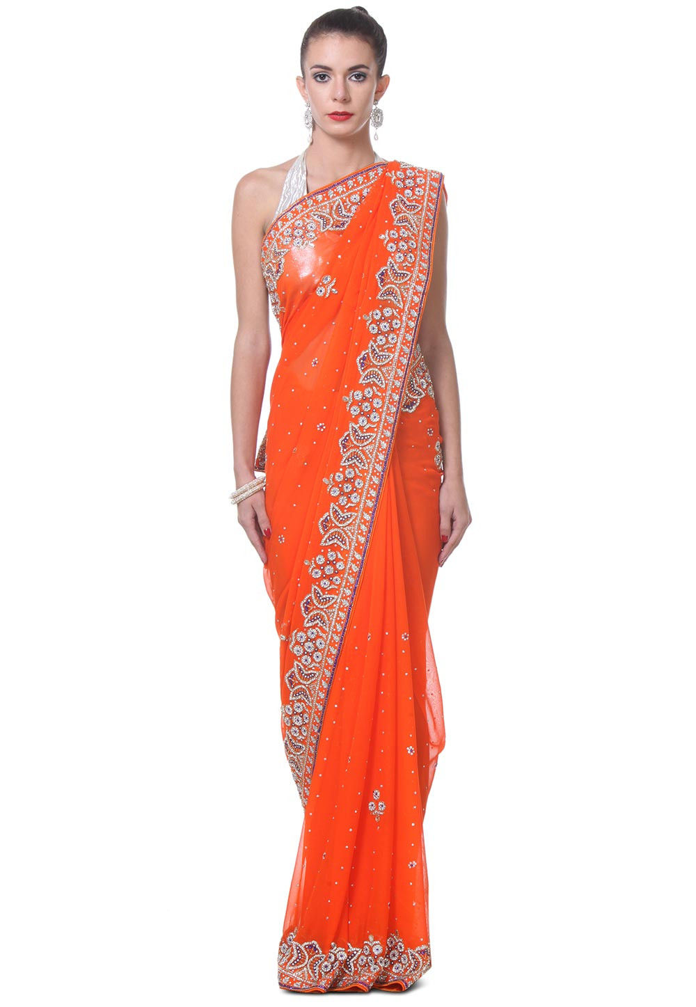Hand Embroidered Chiffon Saree in Orange