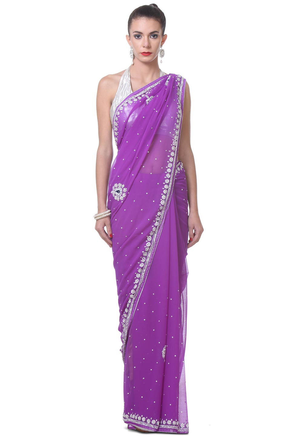 Hand Embroidered Chiffon Saree in Purple