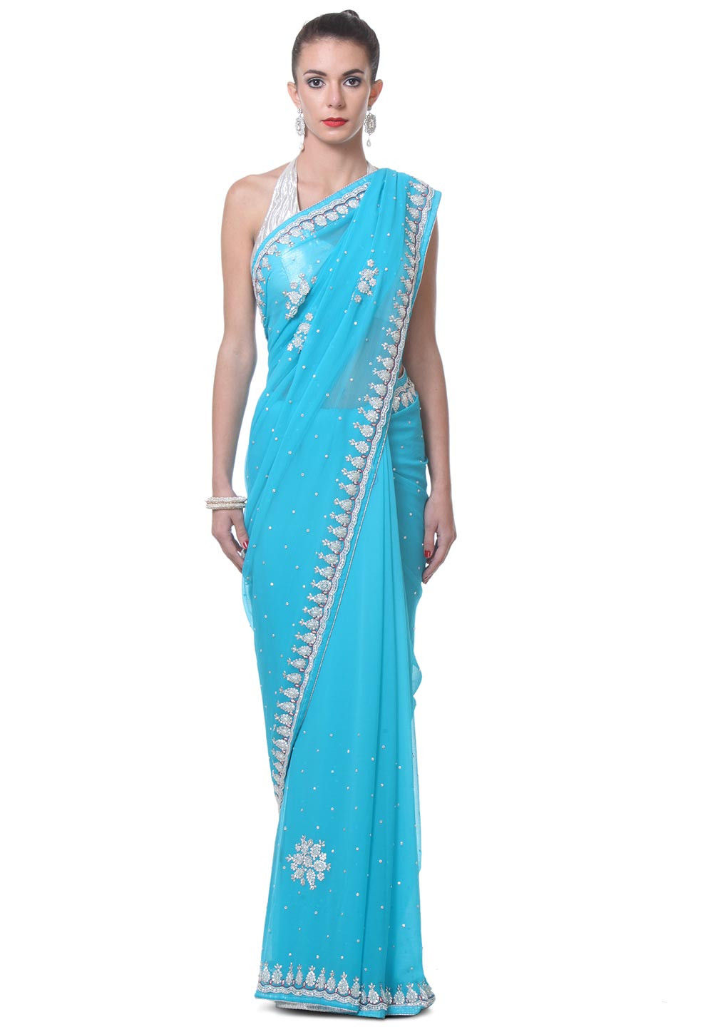 Hand Embroidered Chiffon Saree in Sky Blue