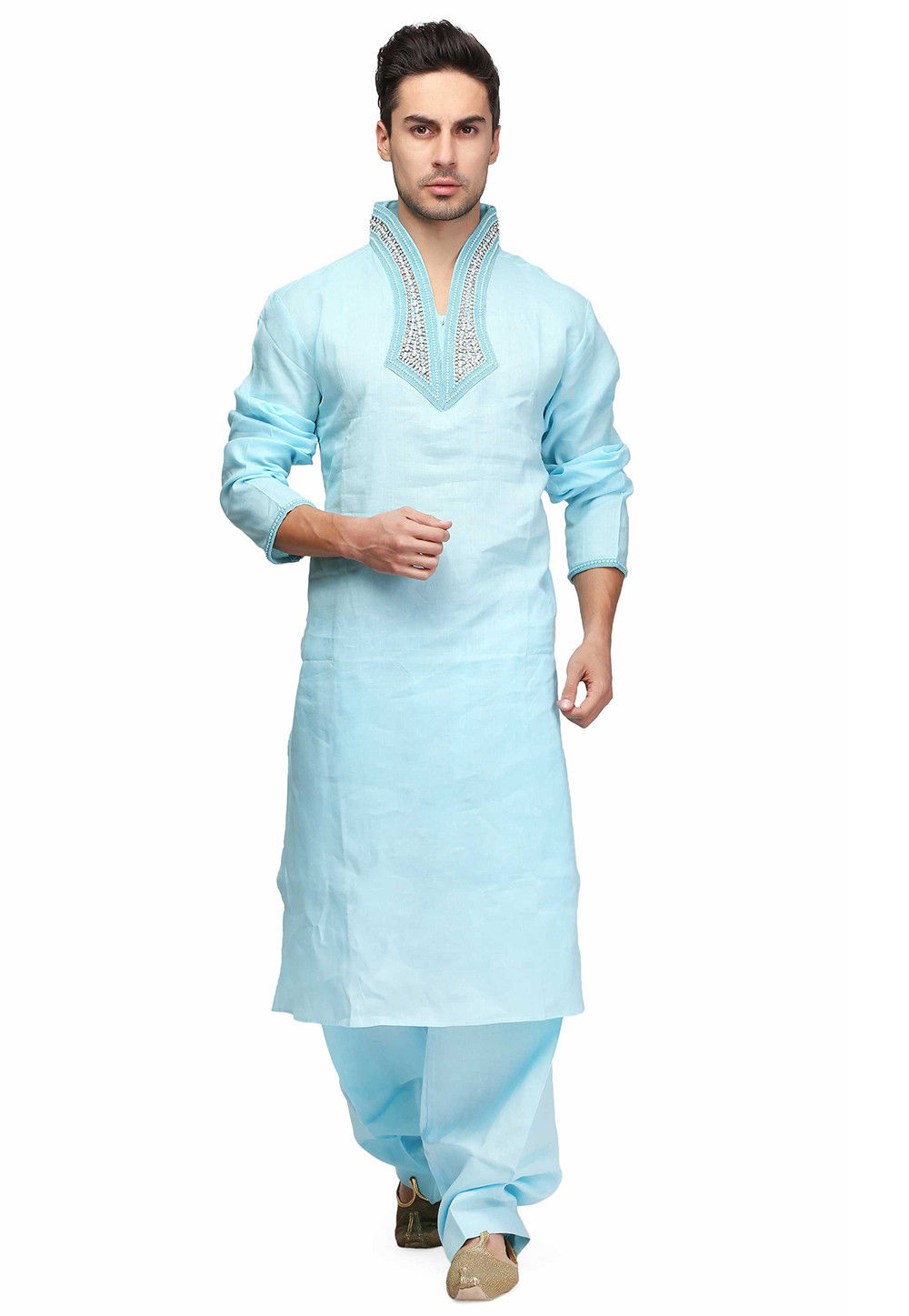 Hand Embroidered Cotton Kurta in Sky Blue
