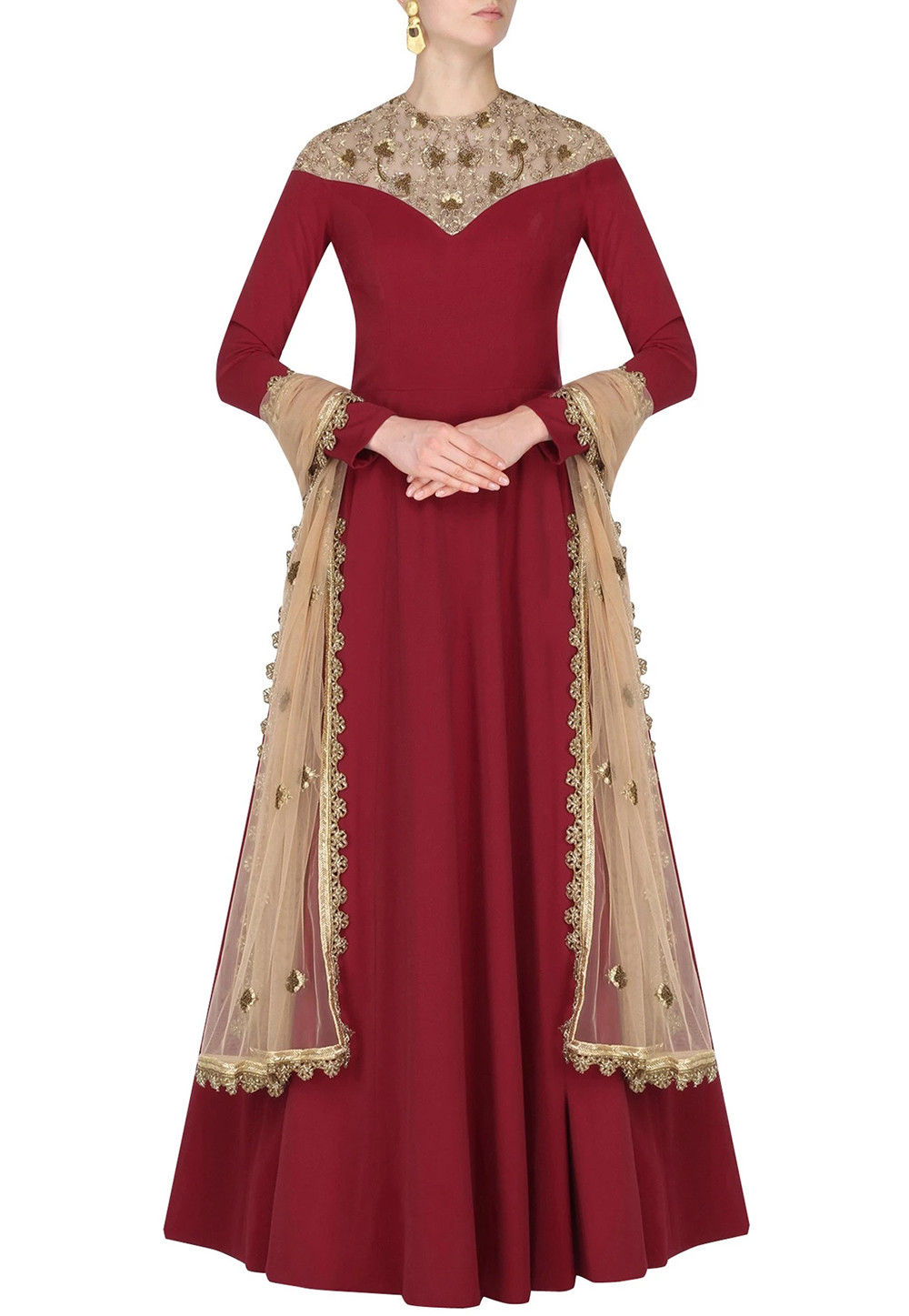 Hand Embroidered Crepe Abaya Style Suit in Maroon