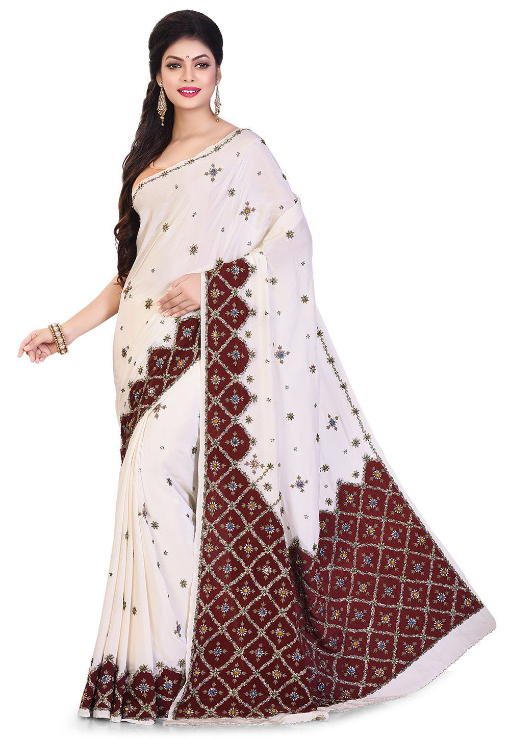 ae0df1cf6850e6 ... Hand Embroidered Crepe Saree in Off White. Zoom