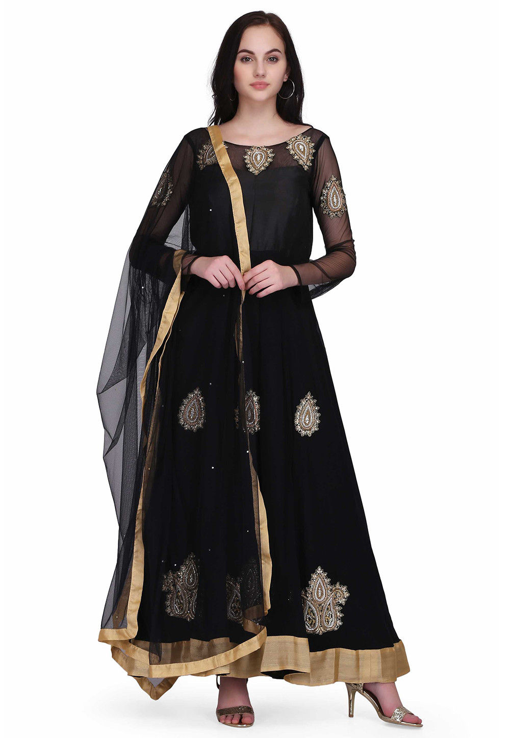 Hand Embroidered Georgette Abaya Style Suit in Black