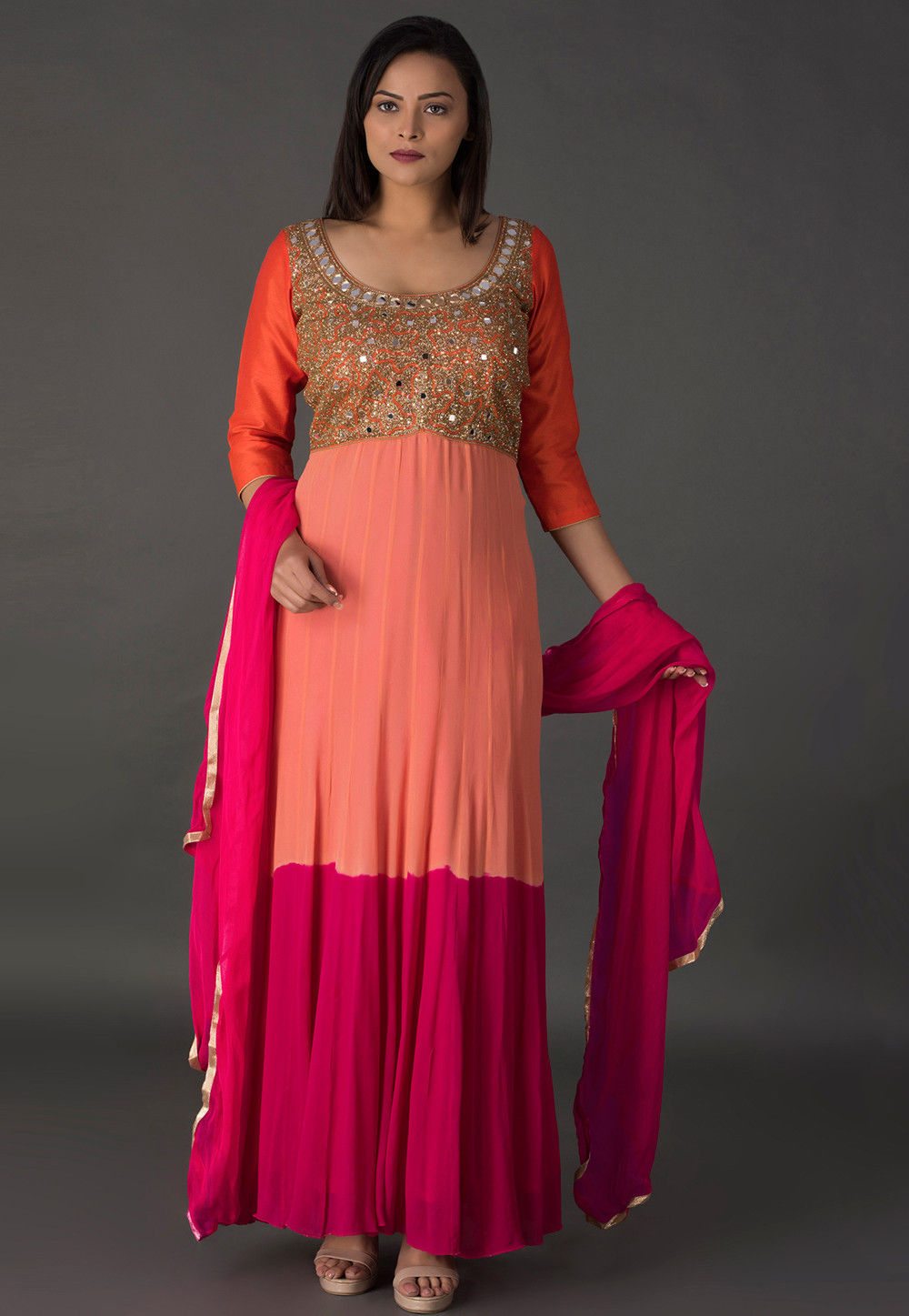Hand Embroidered Georgette Abaya Style Suit in Peach