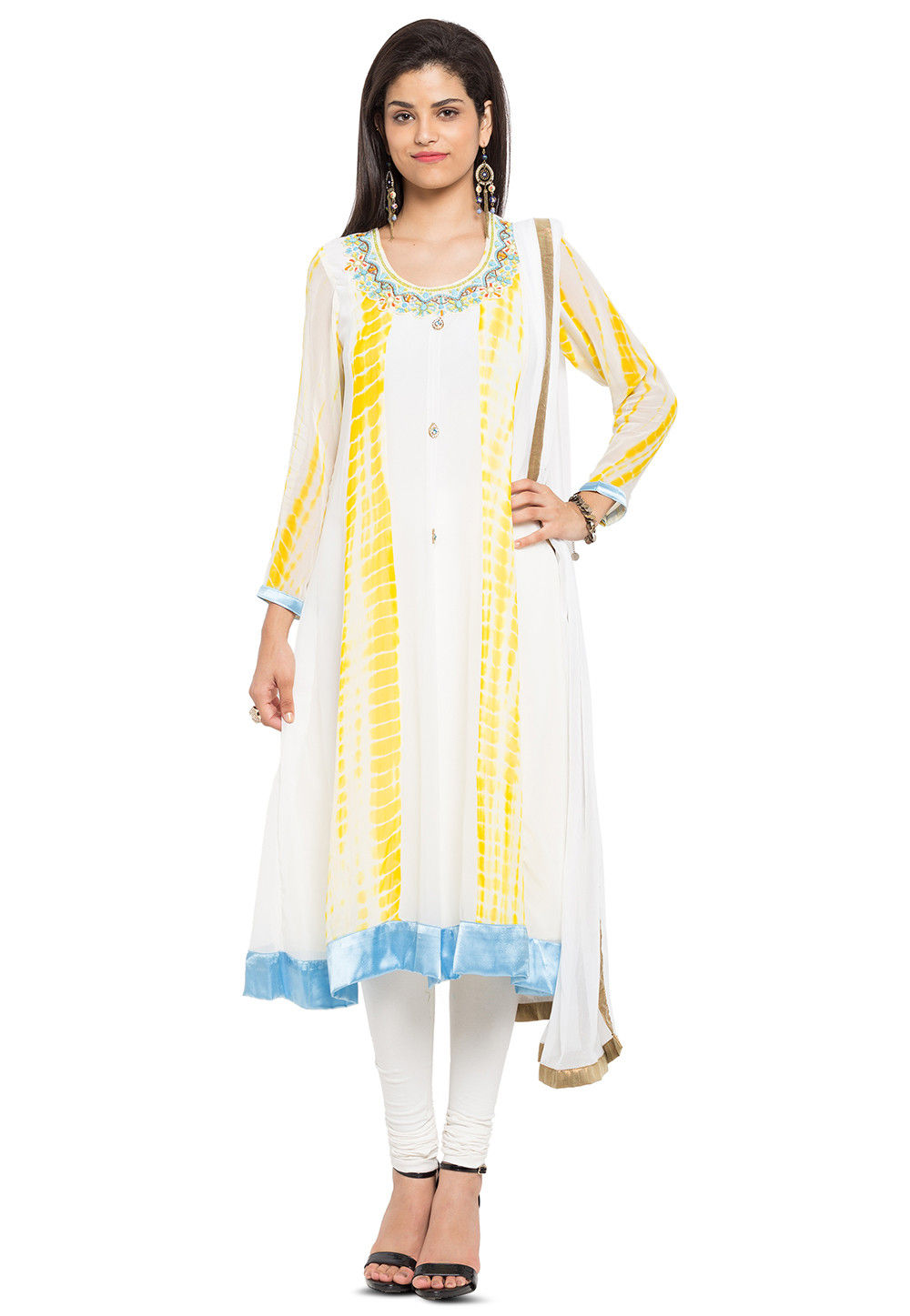 Hand Embroidered Georgette Anarkali Suit in Off White