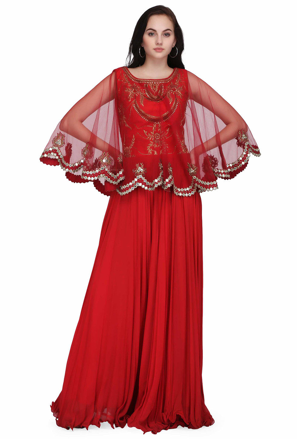 Hand Embroidered Georgette Flared Gown in Red