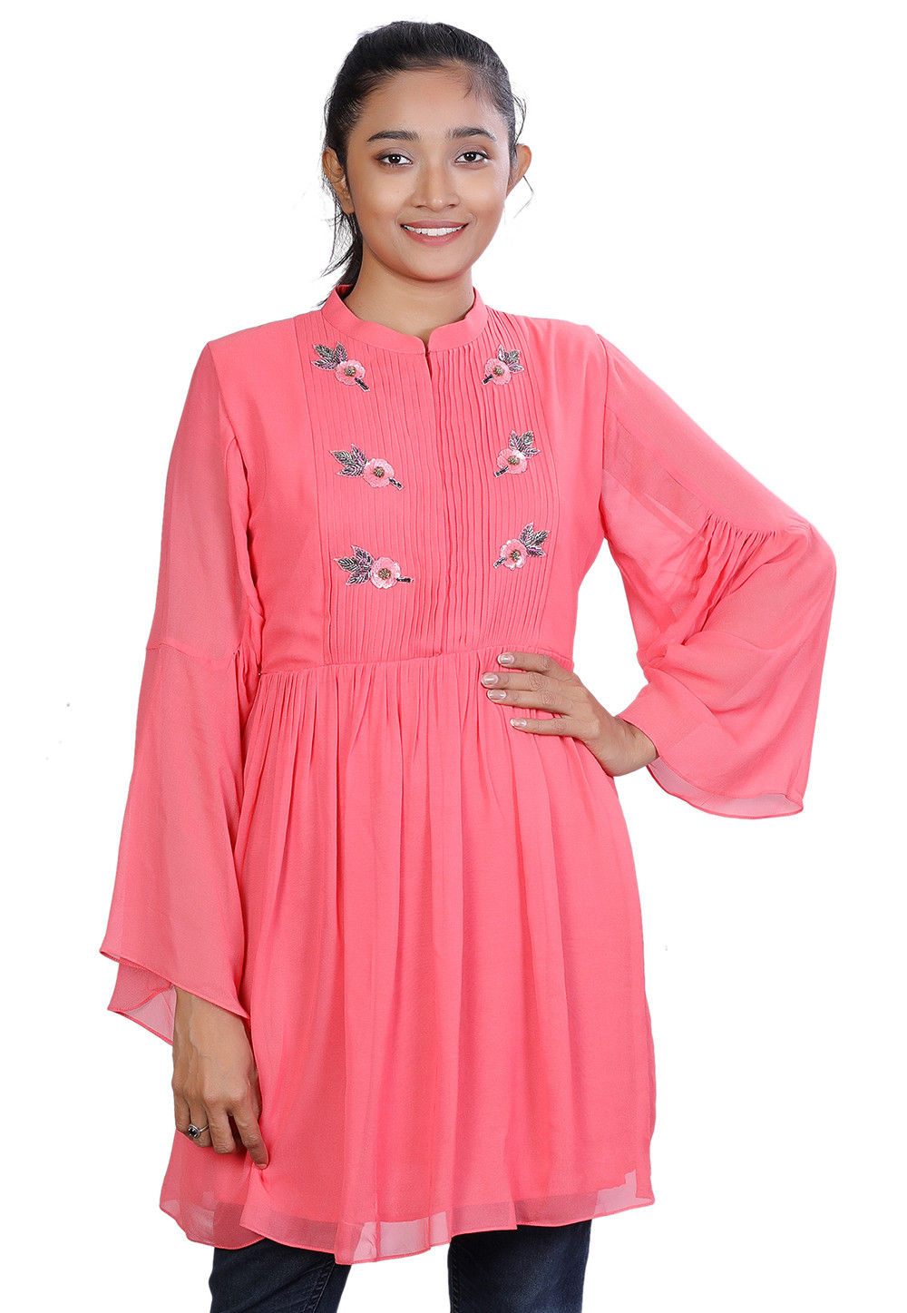 8e1e8d6996 Hand Embroidered Georgette Kurti in Coral Pink : TBM15