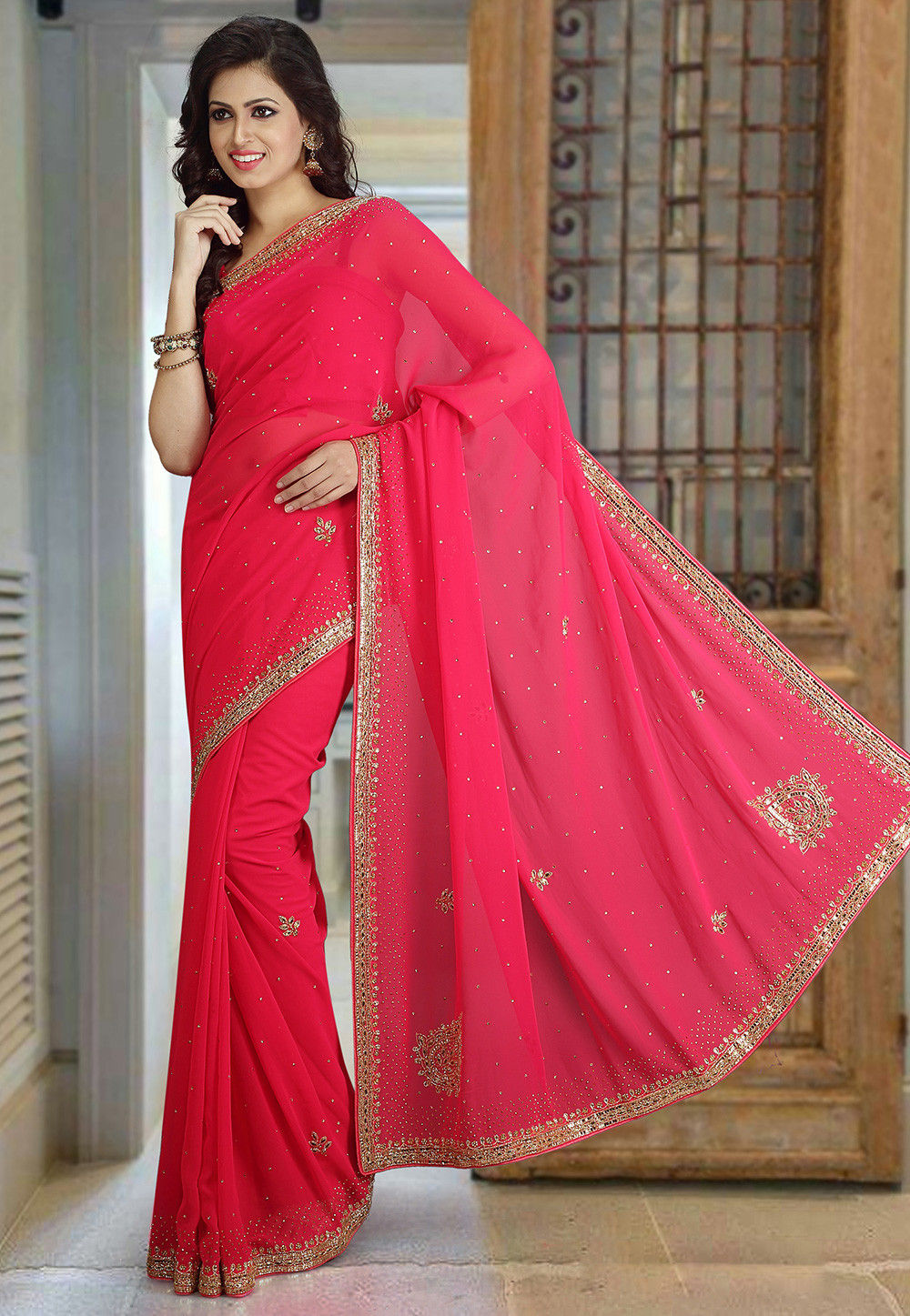 Hand Embroidered Georgette Saree in Coral Pink