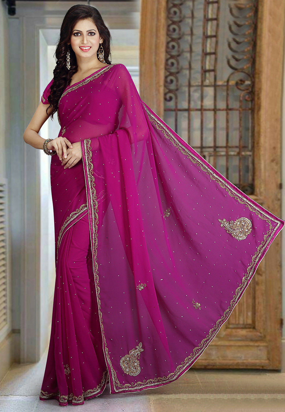 Hand Embroidered Georgette Saree in Magenta