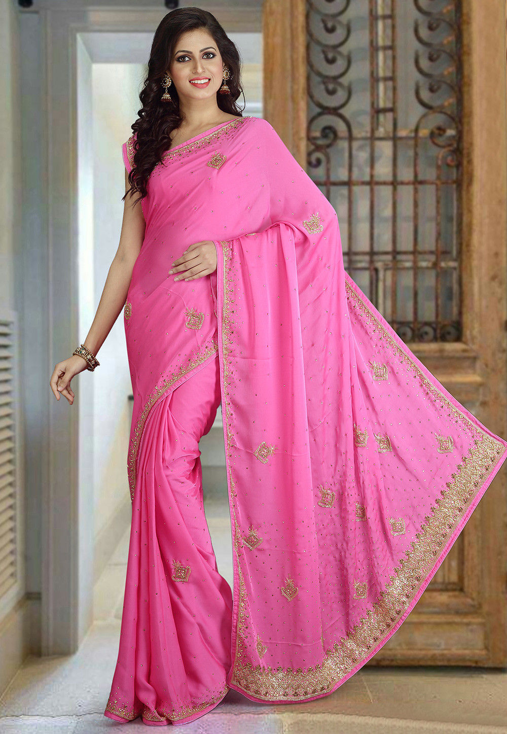Hand Embroidered Georgette Saree in Pink
