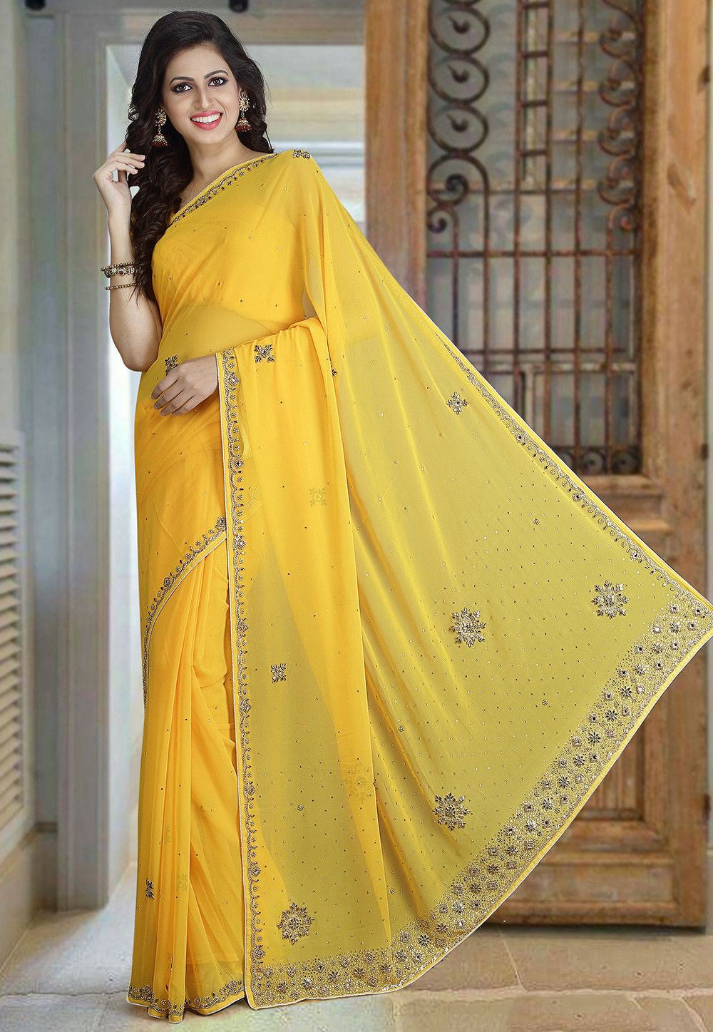Hand Embroidered Georgette Saree in Yellow