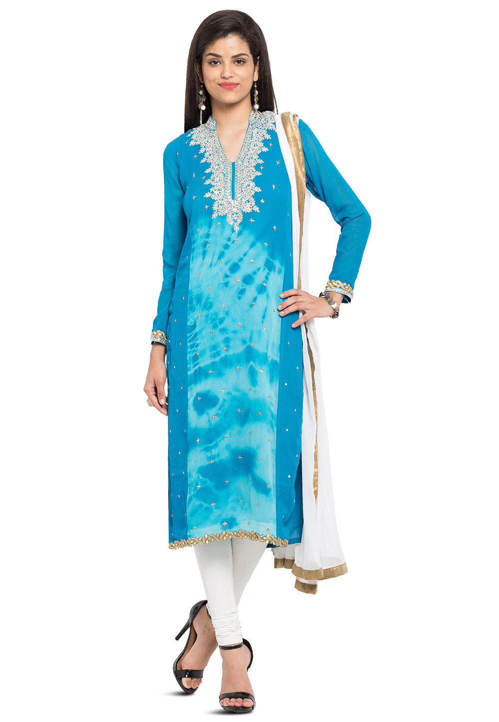 Hand Embroidered Georgette Straight Suit in Sky Blue