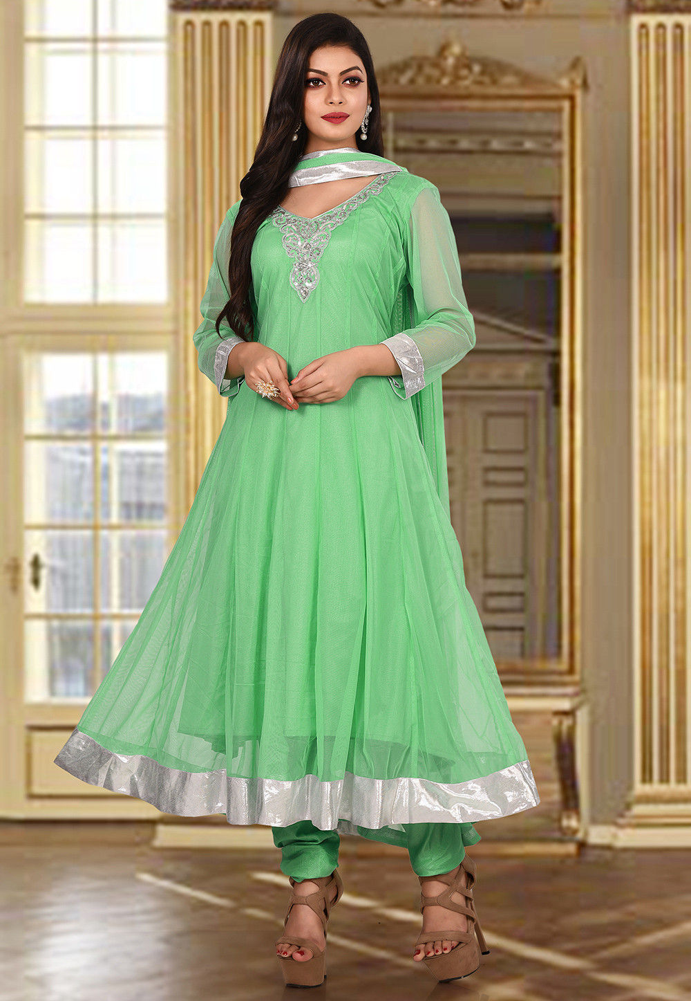 3eff424698 Hand Embroidered Net Anarkali Suit in Sea Green : KBX33