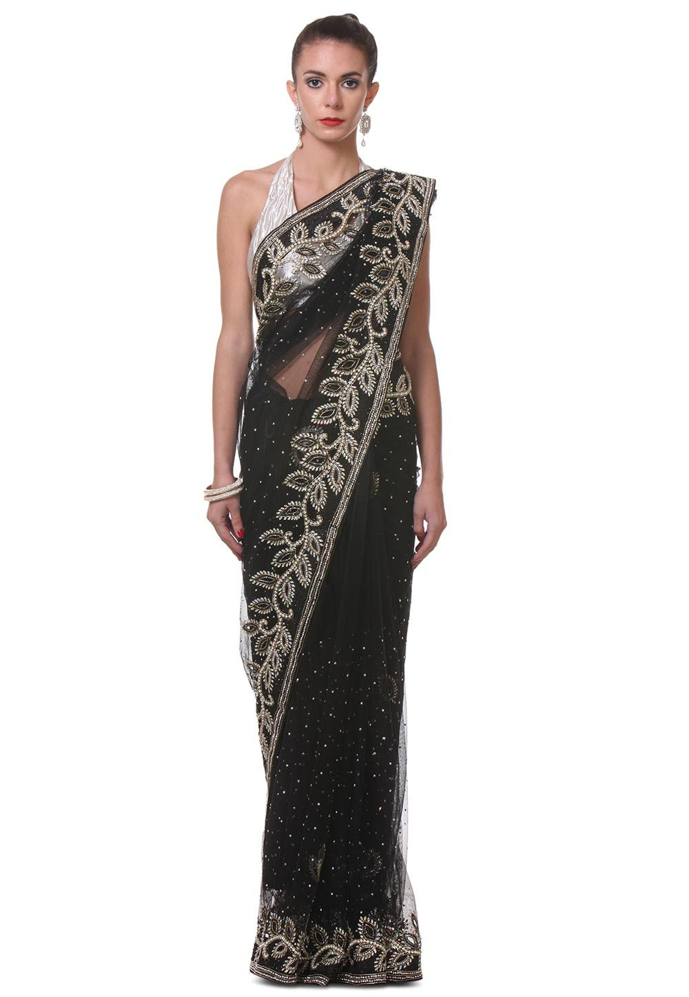 Hand Embroidered Net Saree in Black