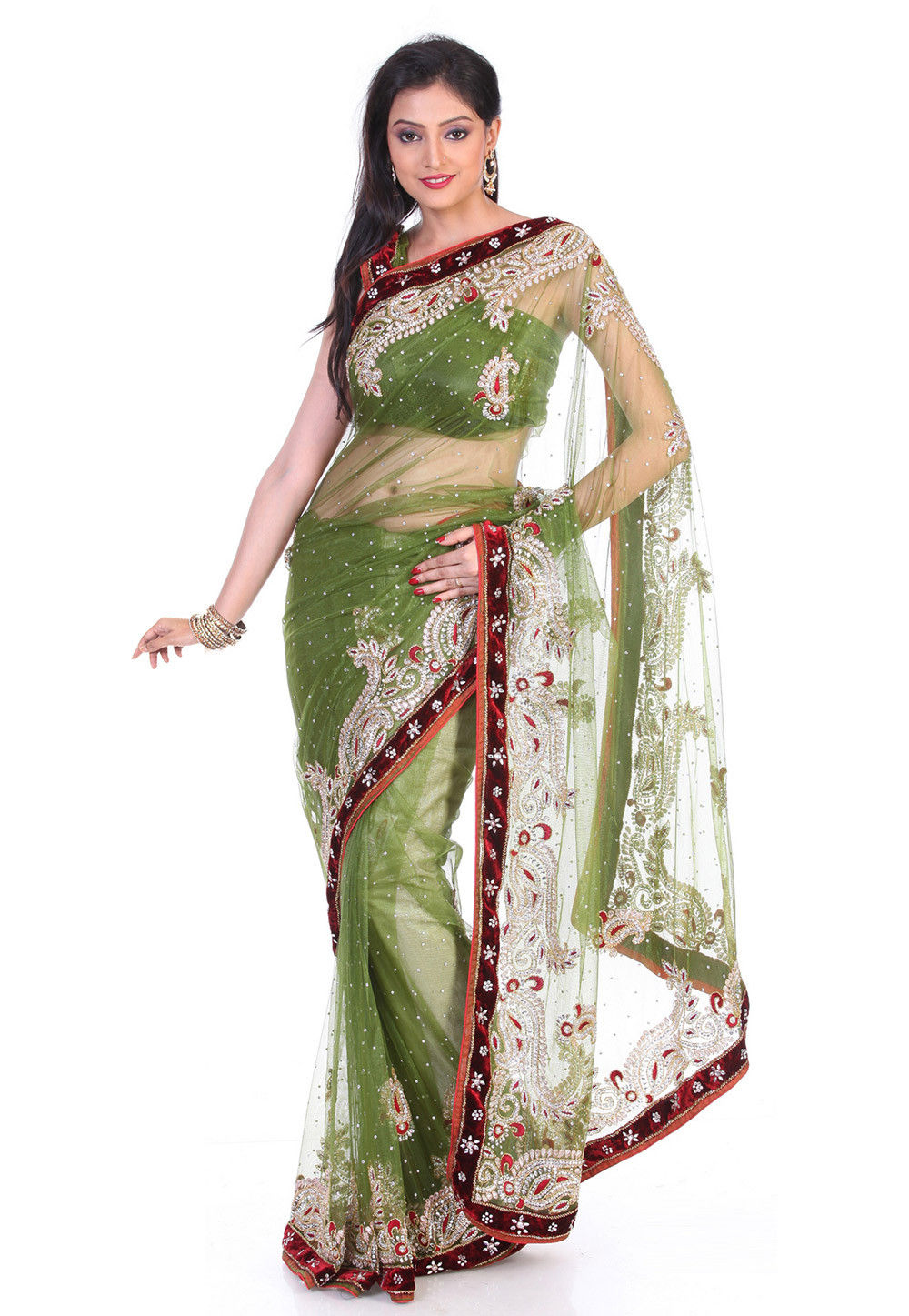 Hand Embroidered Net Saree in Olive Green