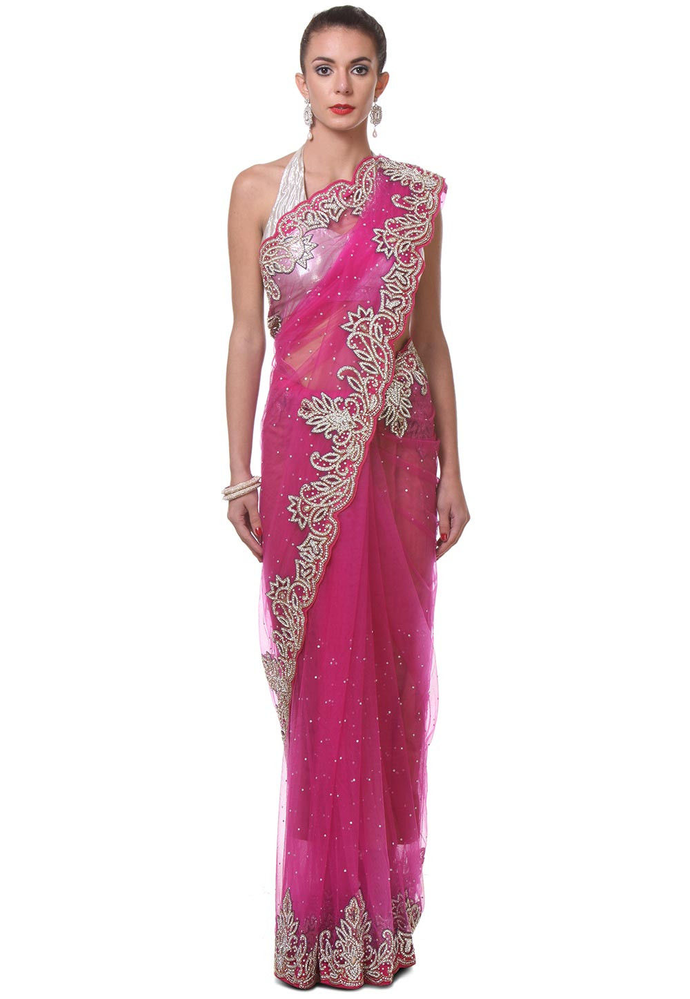 Hand Embroidered Net Saree in Pink