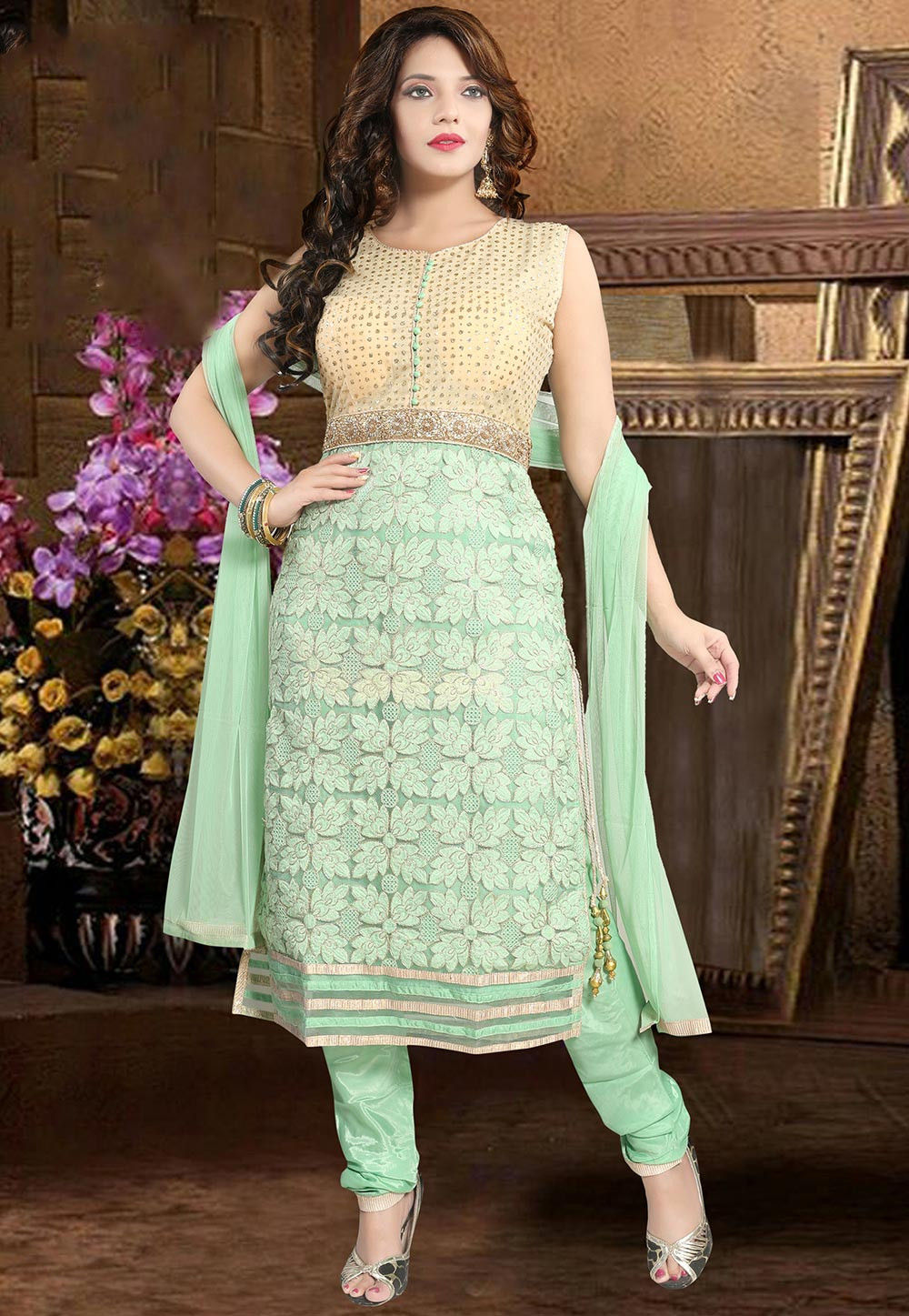 Hand Embroidered Net Straight Suit in Pastel Green and Beige