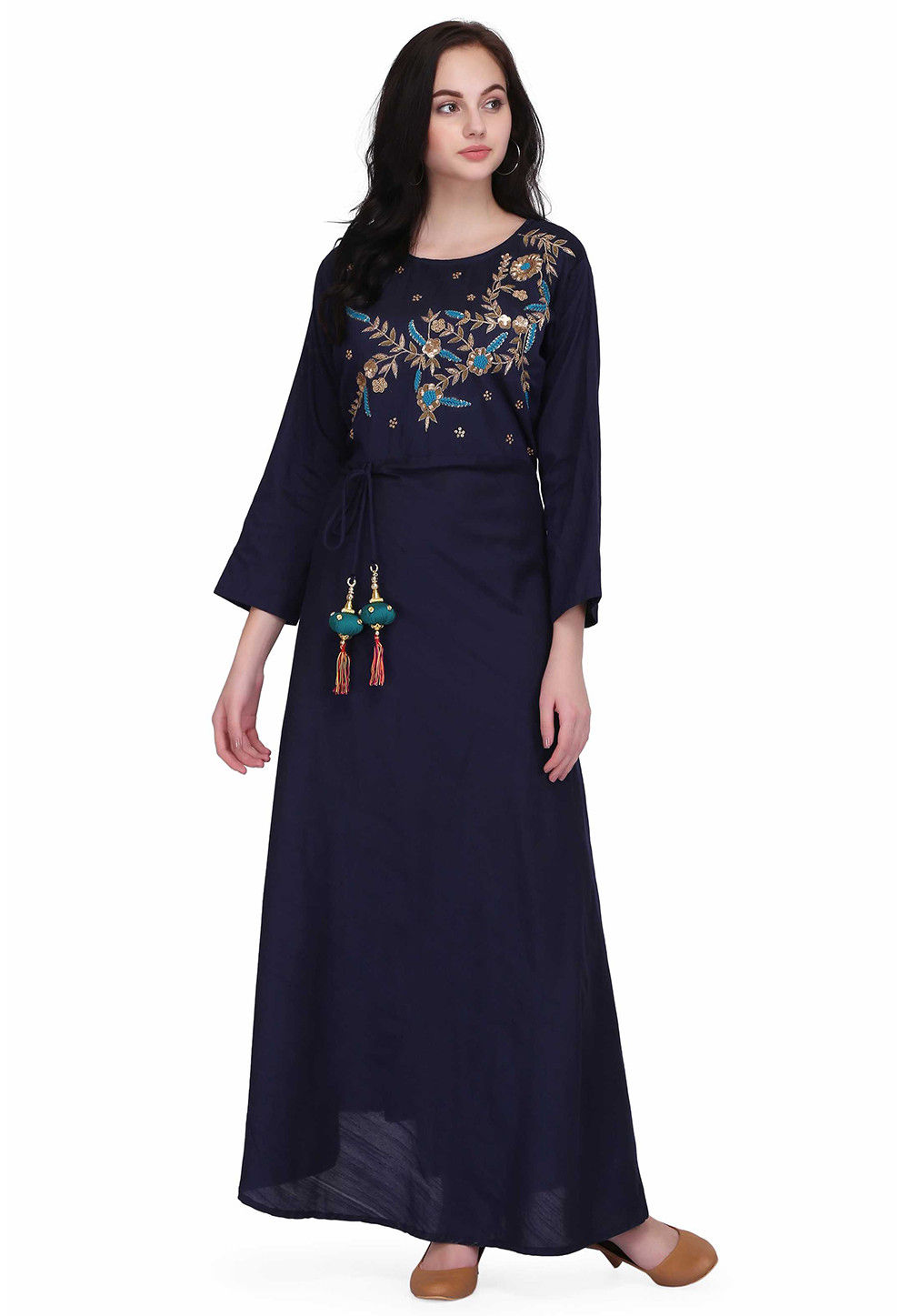 Hand Embroidered Raw Silk Flared Dress in Navy Blue
