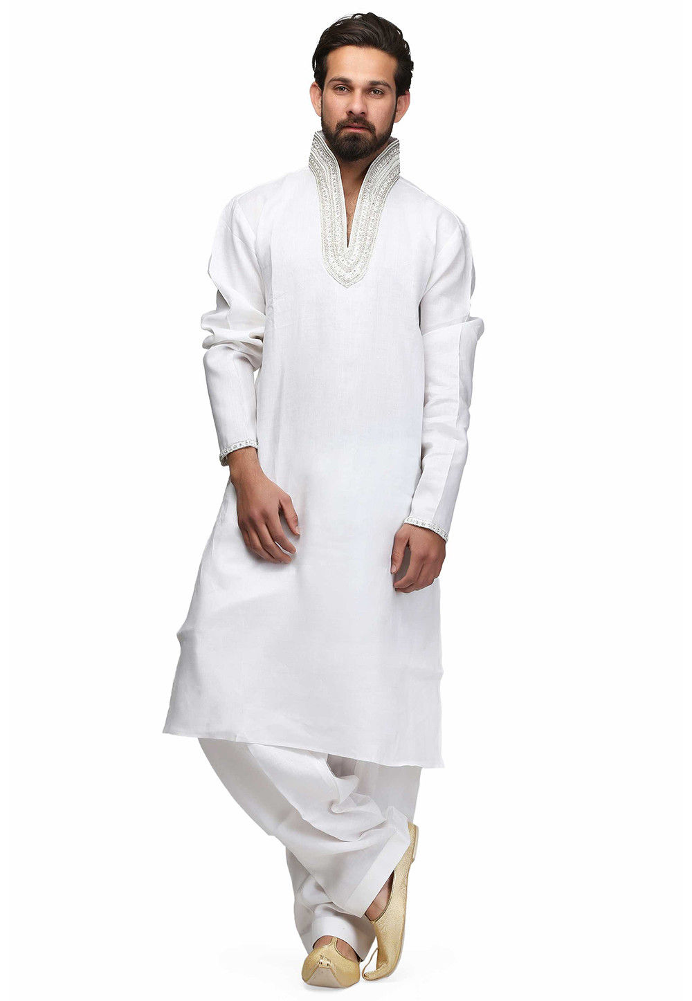 Hand Embroidered Raw Silk Kurta in White