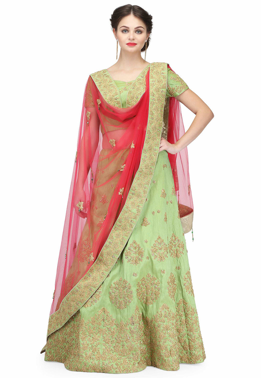 Hand Embroidered Raw Silk Lehenga in Light Green
