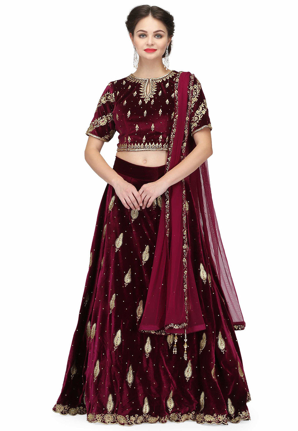 Hand Embroidered Velvet Lehenga in Dark Wine