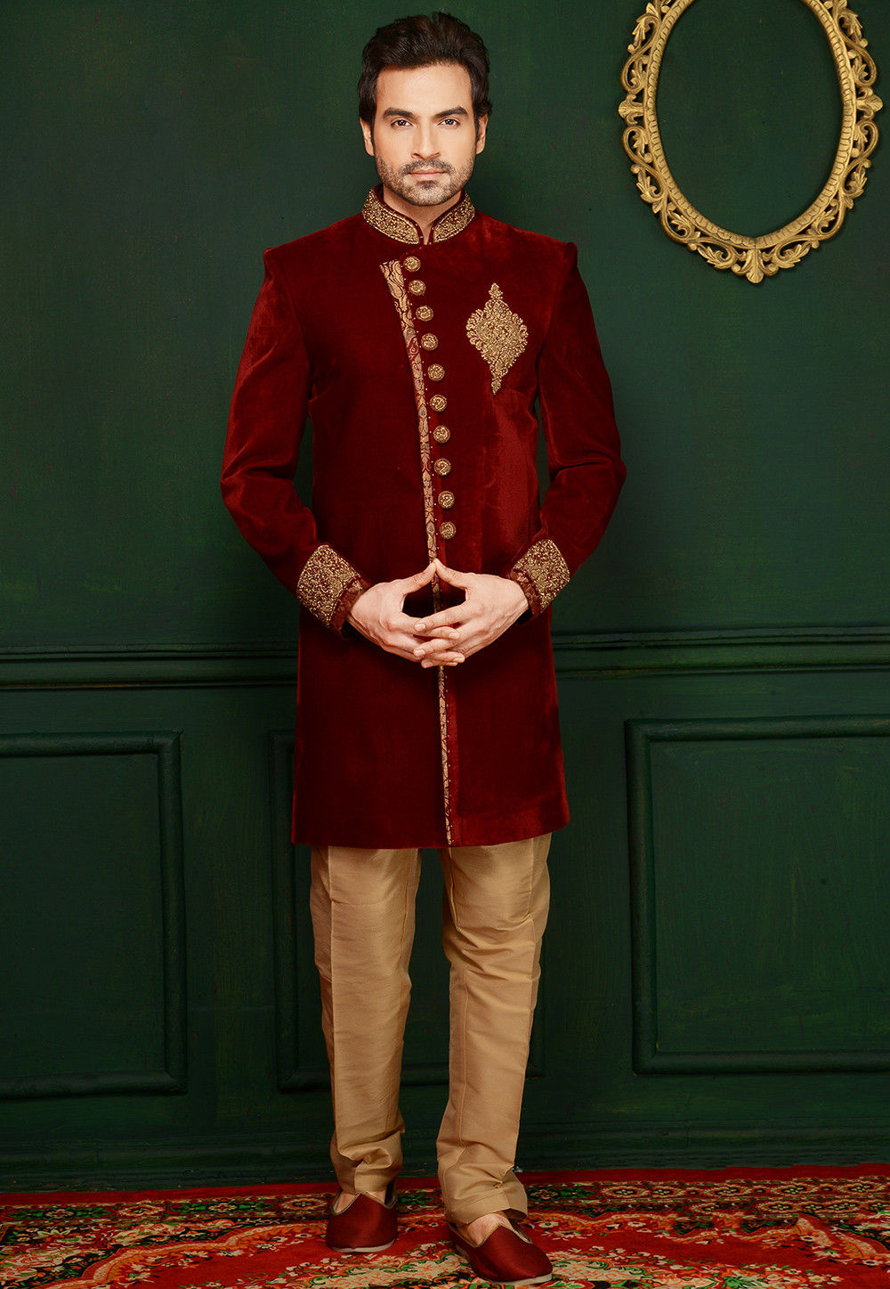 Hand Embroidered Velvet Sherwani in Maroon