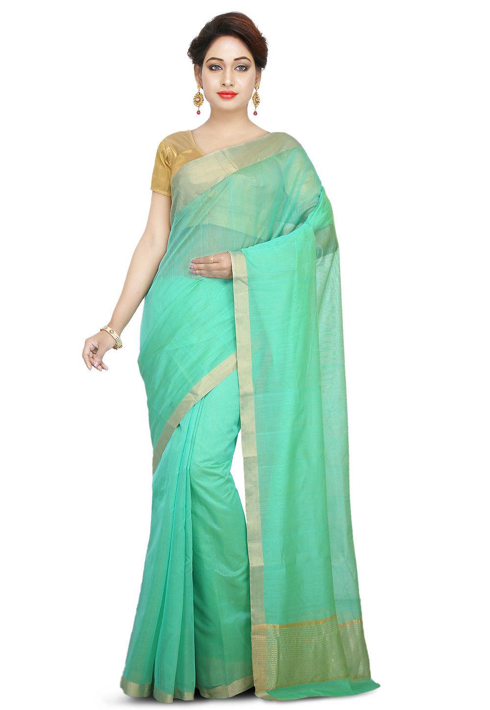 Chanderi Silk Saree in Light Teal Green