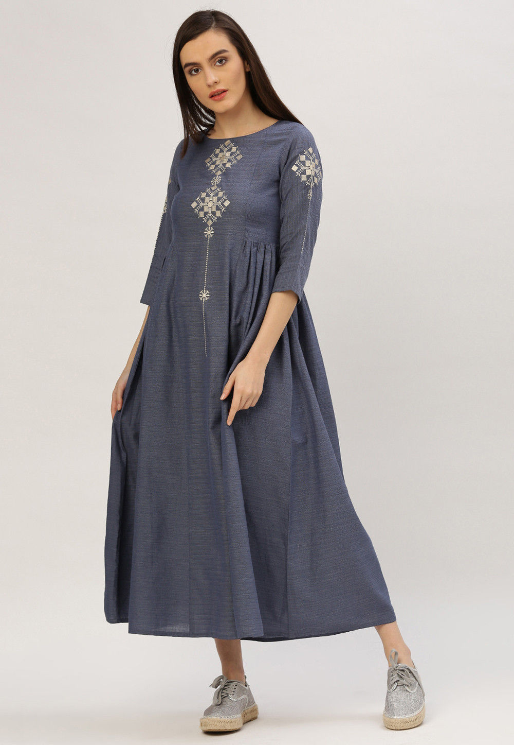 Handloom Cotton Flared Kurta in Blue