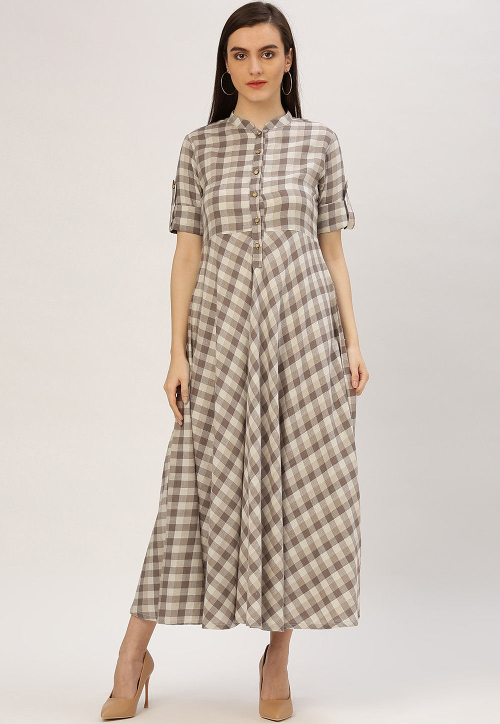 Handloom Cotton Flared Shirt Style Kurta in Brown