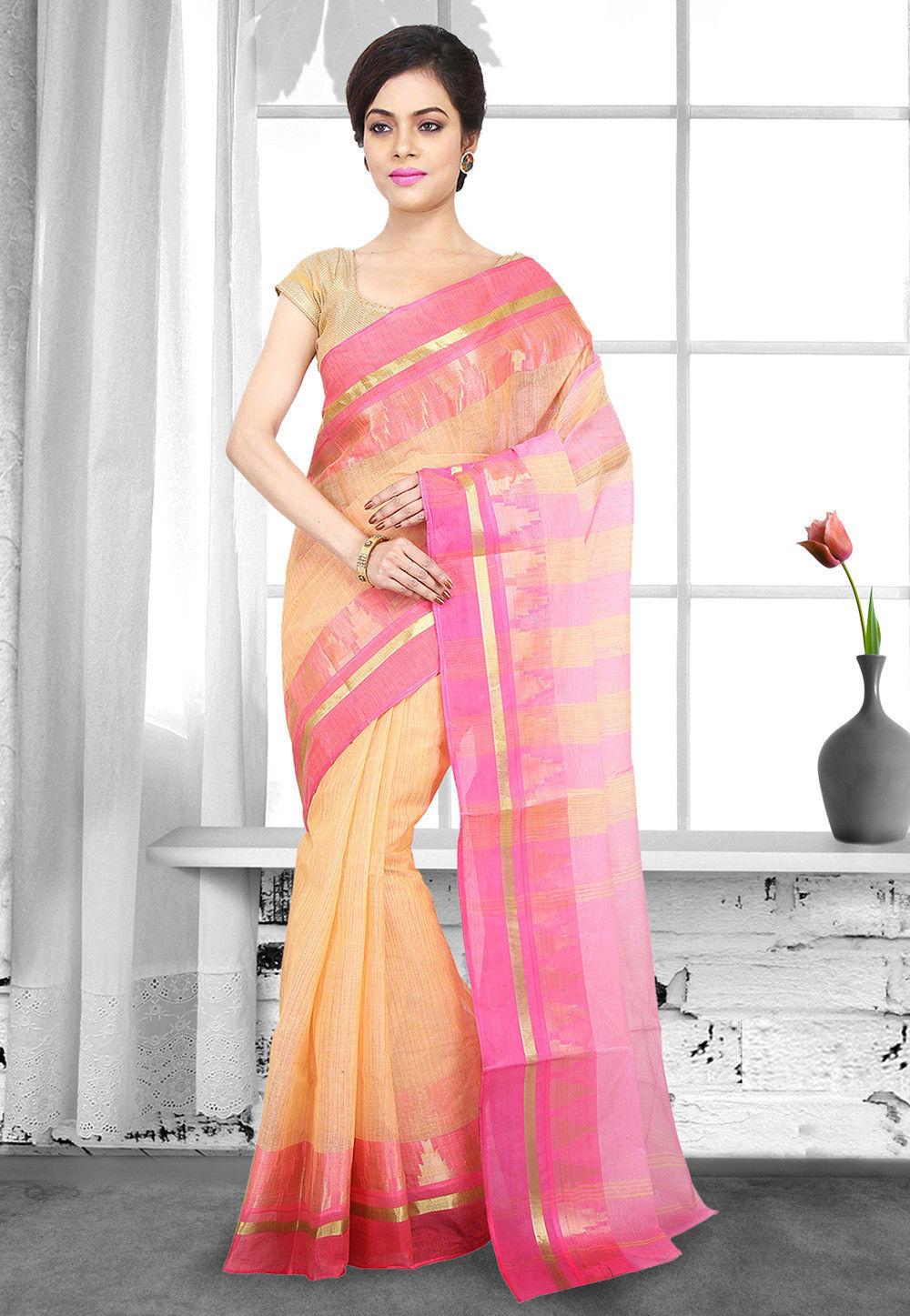 Handloom Cotton Tant Saree in Light Orange