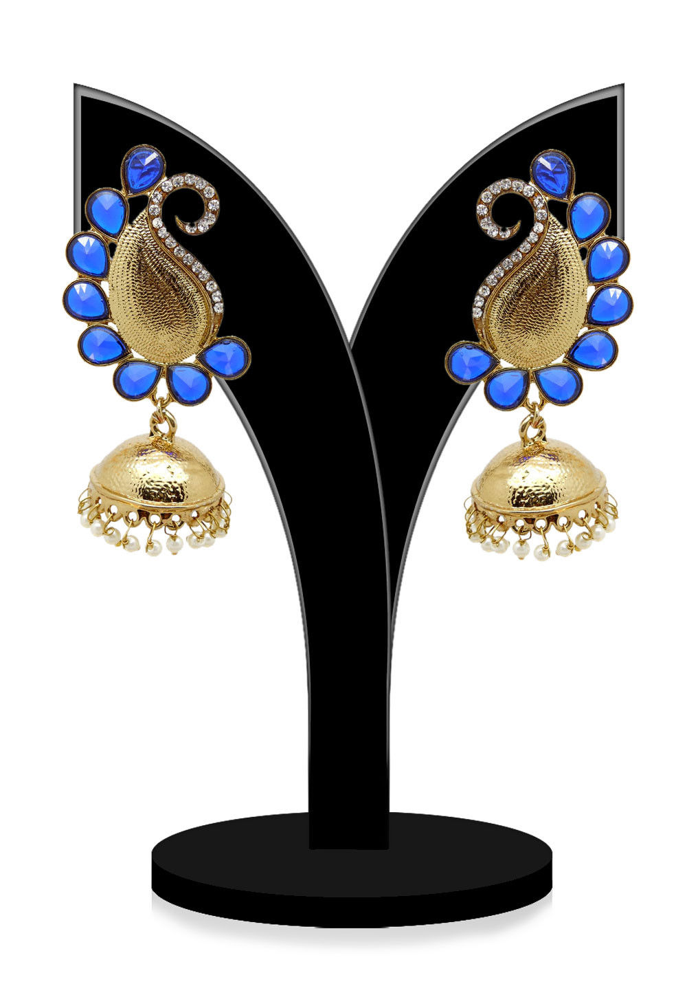 Stone Studded Earring in Royal Blue and golden