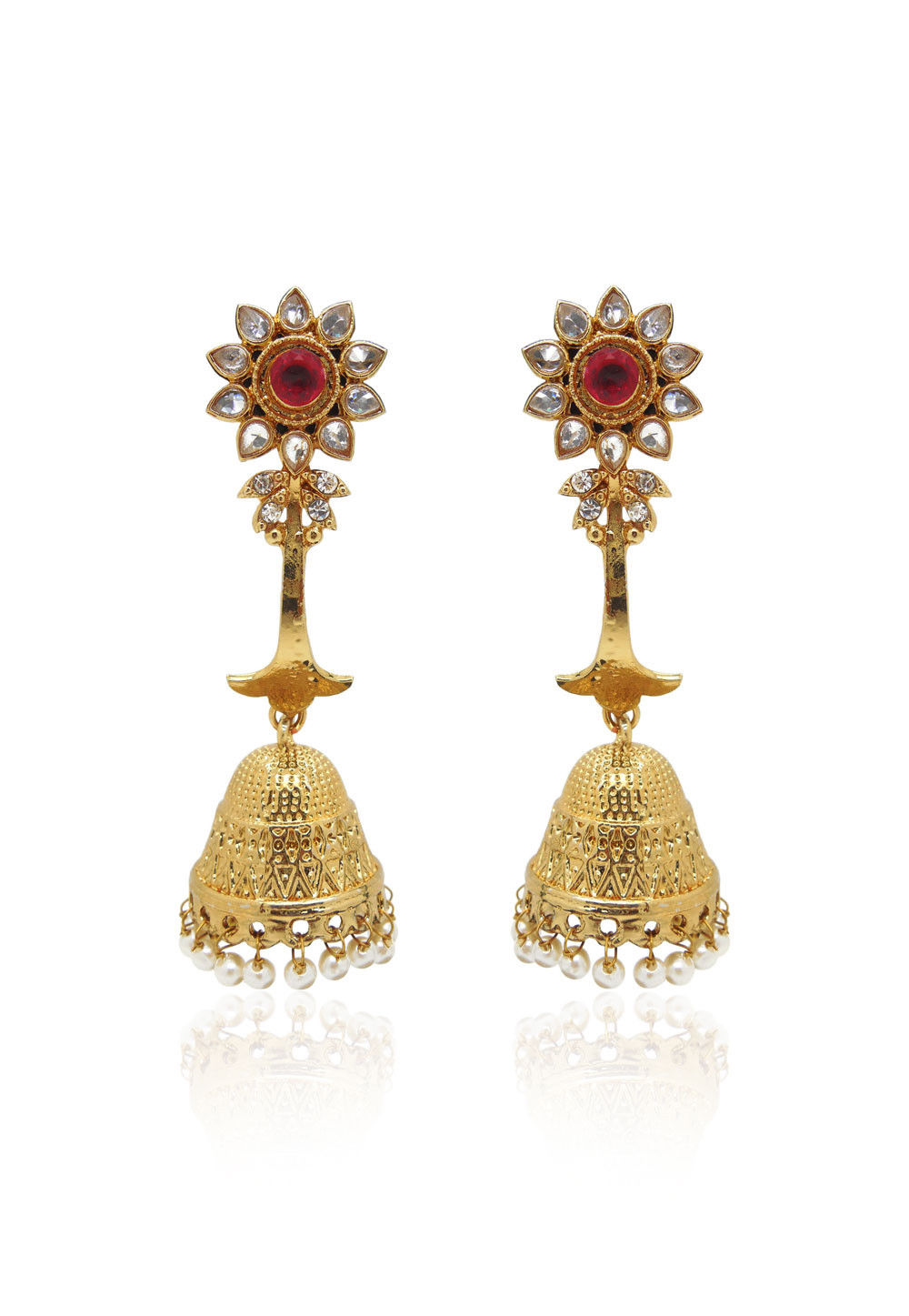 Fashion Jhumka in Golden and White