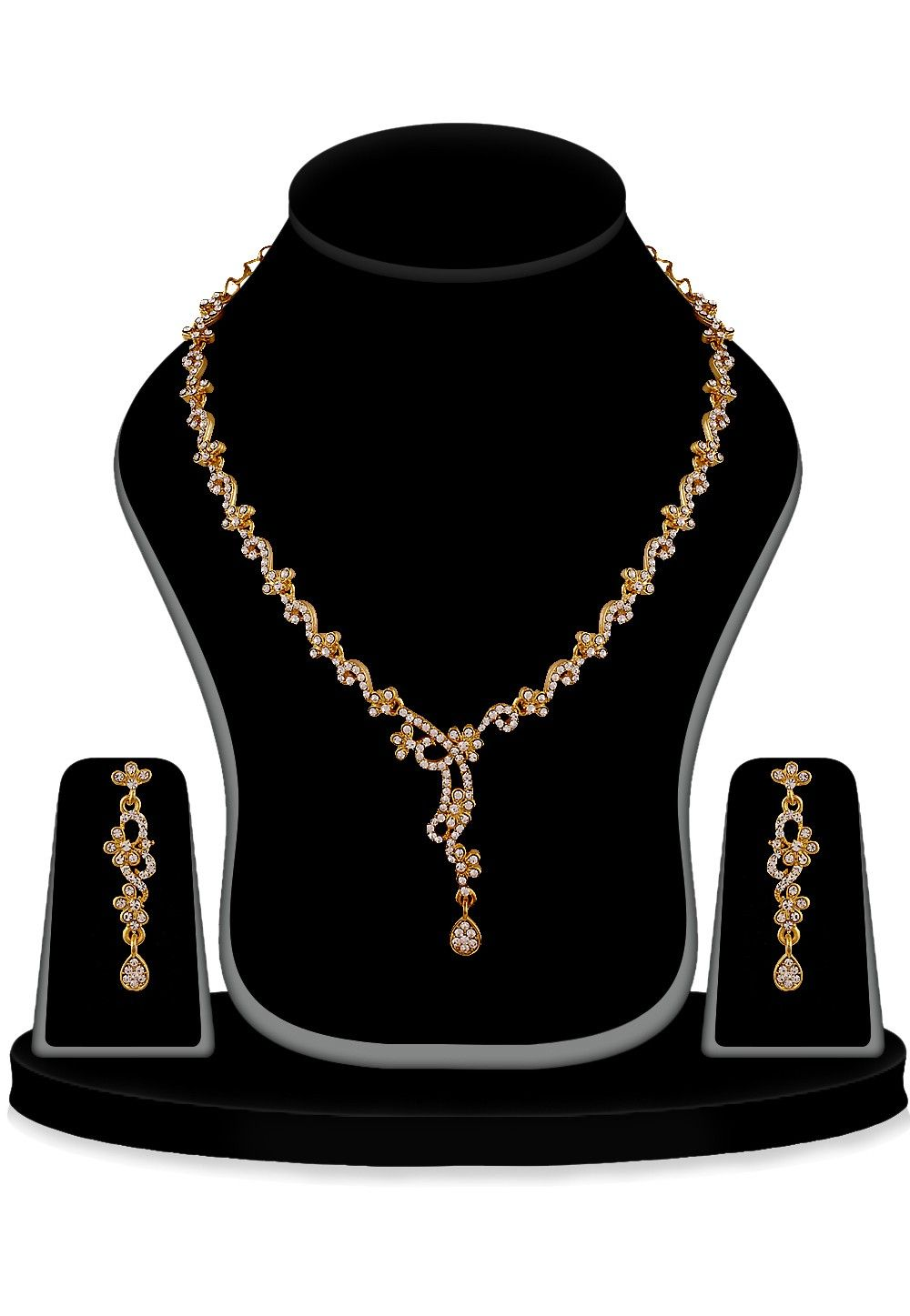 Stone Studded Necklace Set in Golden and White