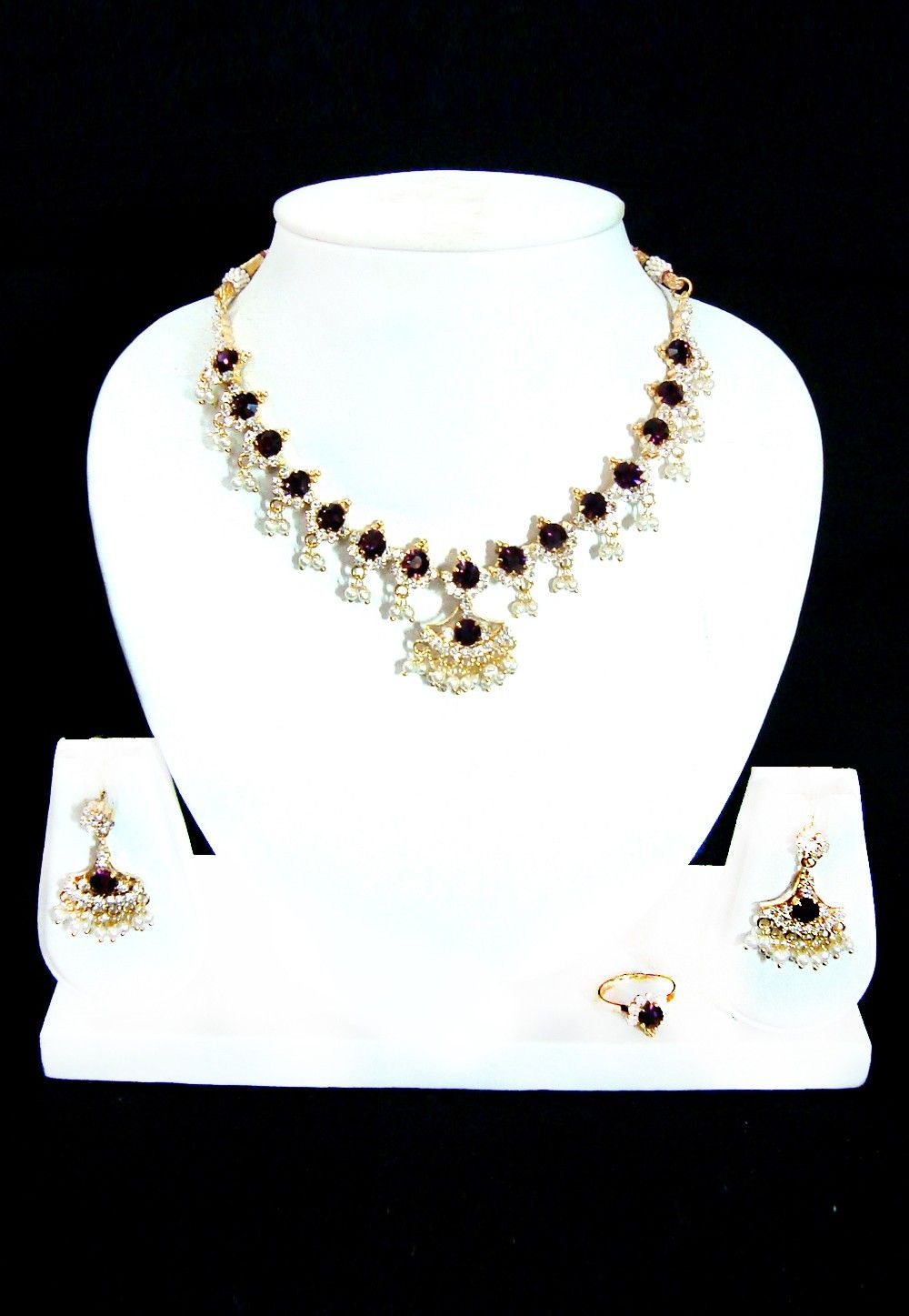 Stone Studded Necklace Set in Violet and White