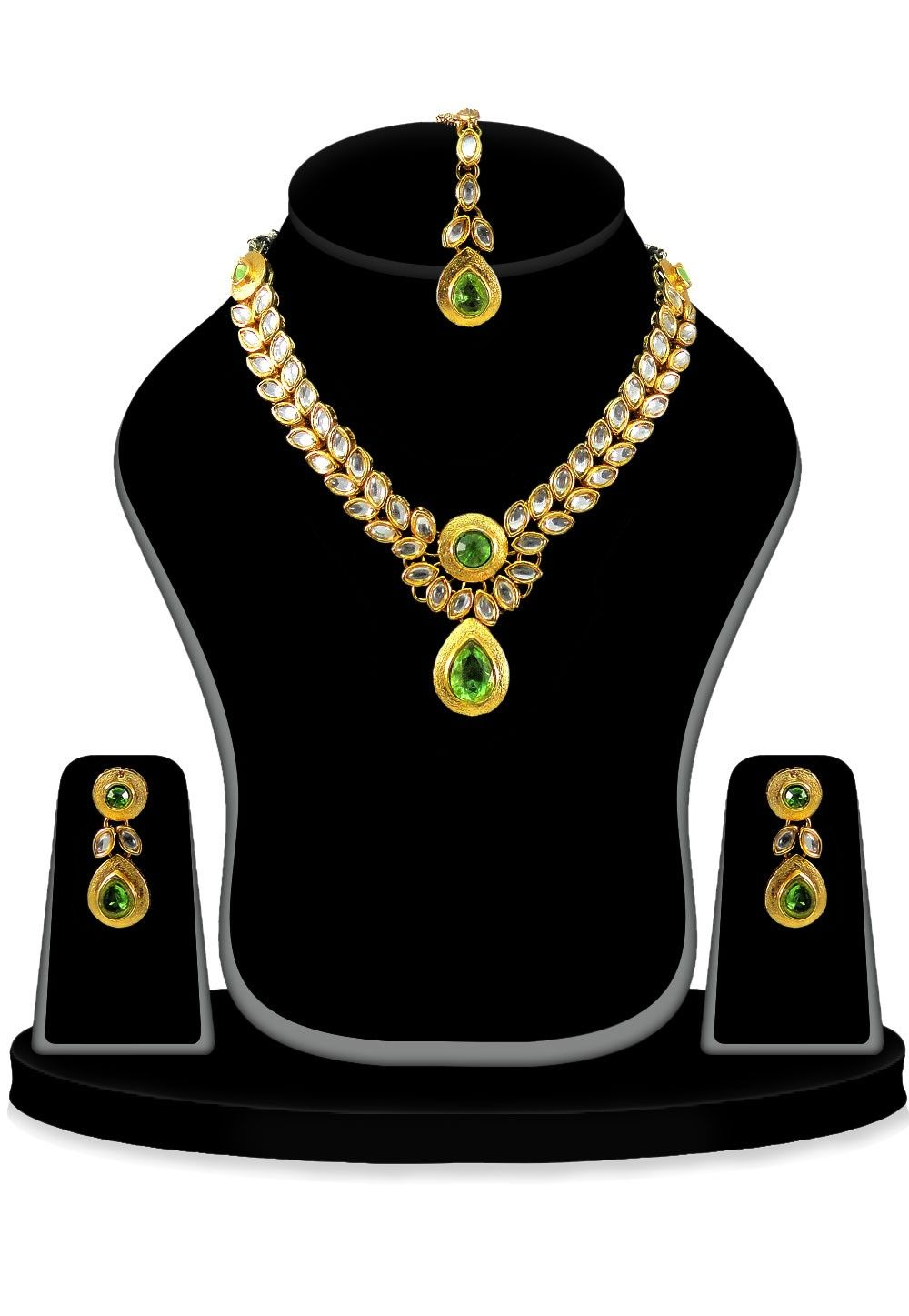 Kundan Necklace Set in White and Green