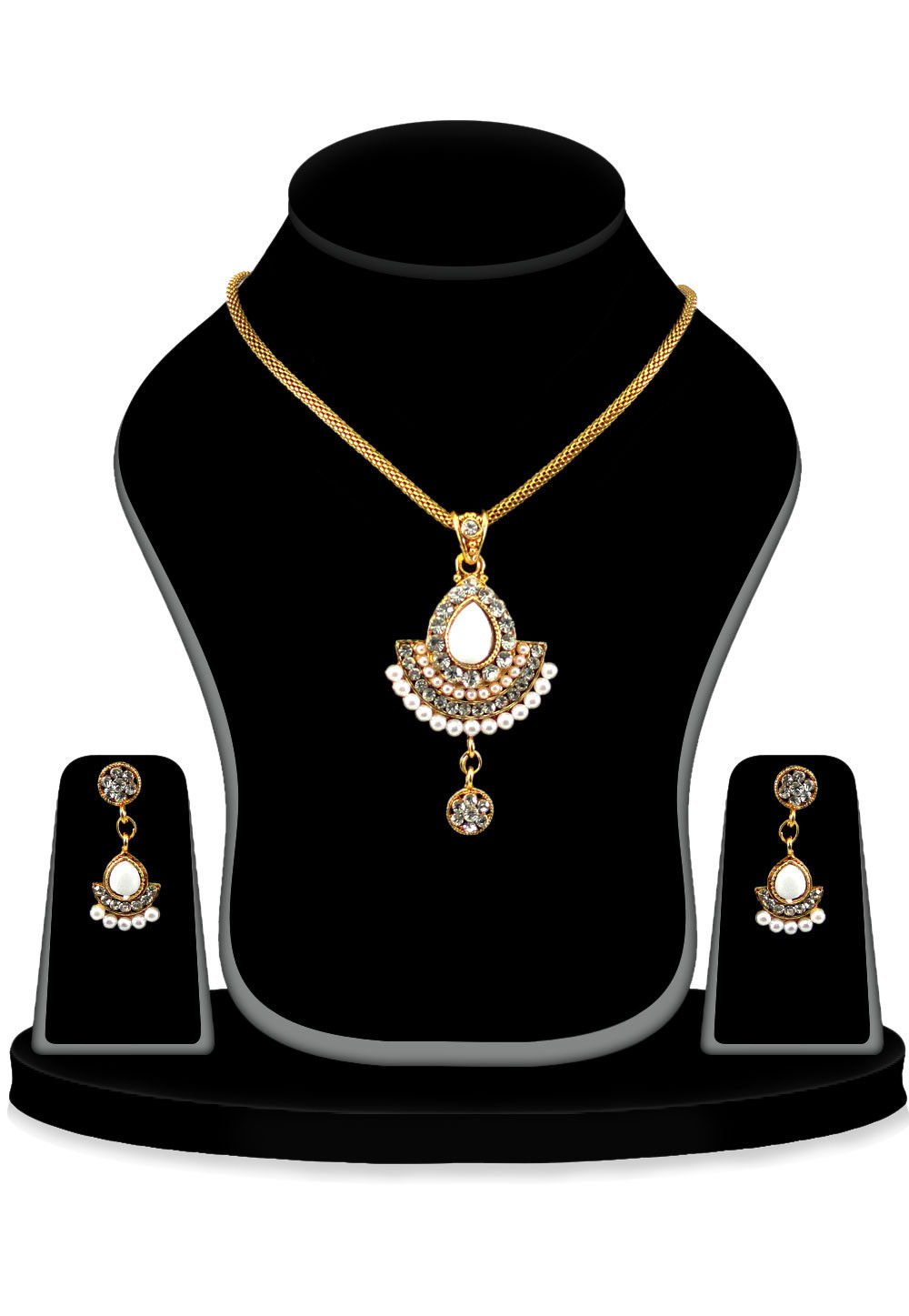 Stone Studdded Pendant Set in Golden and White