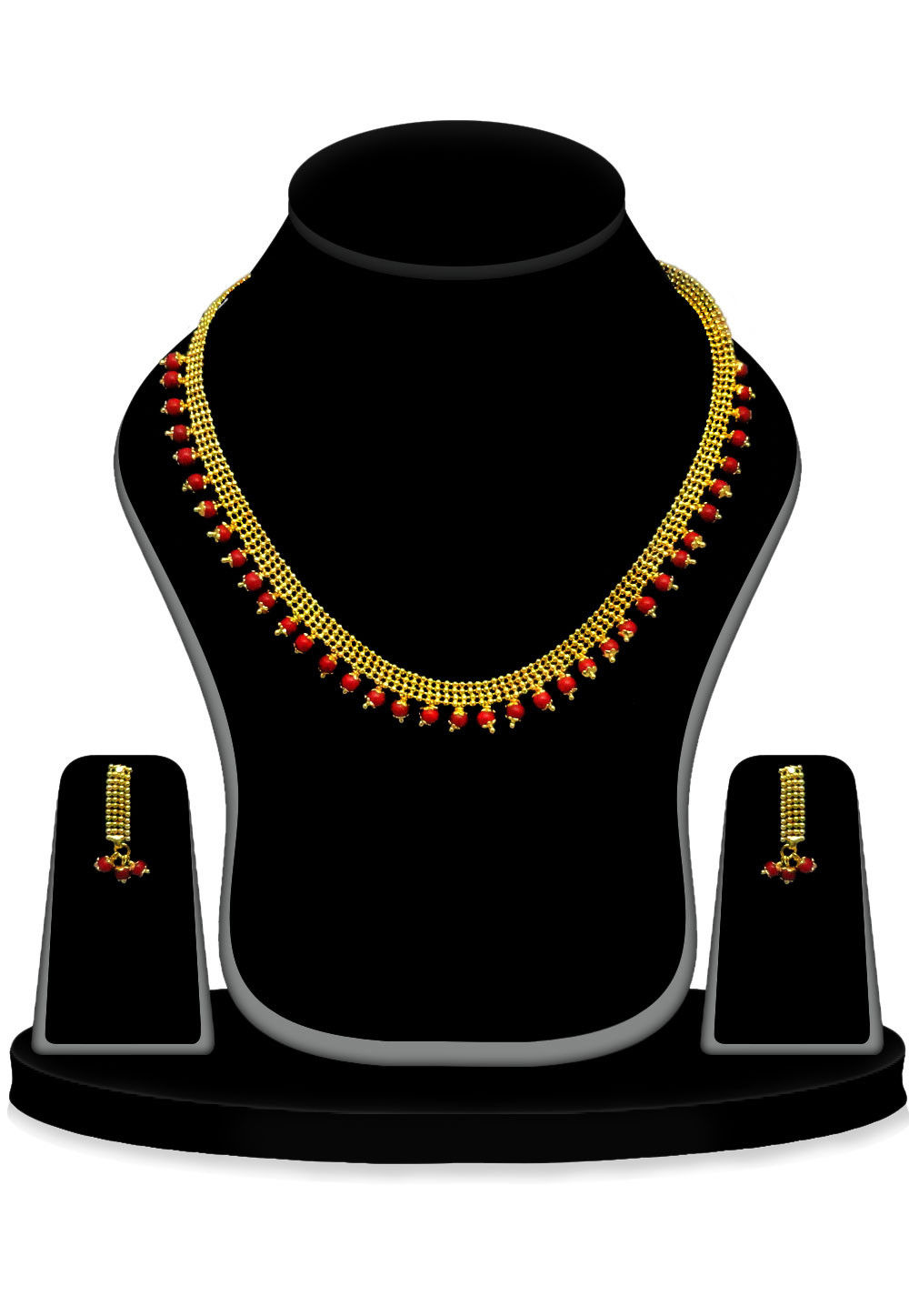 Beaded Necklace Set in Golden and Red
