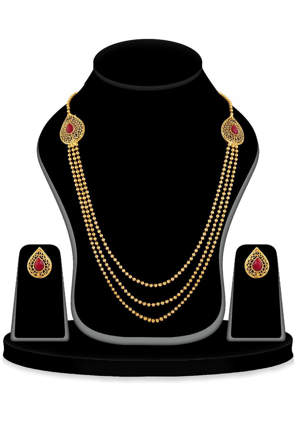 Stone Studded Long Necklace Set in Golden and Red