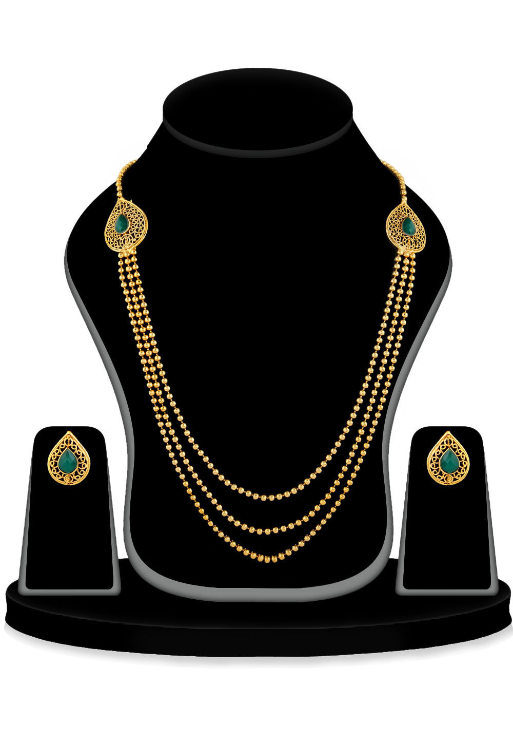 Stone Studded Long Necklace set in Golden and Teal Green