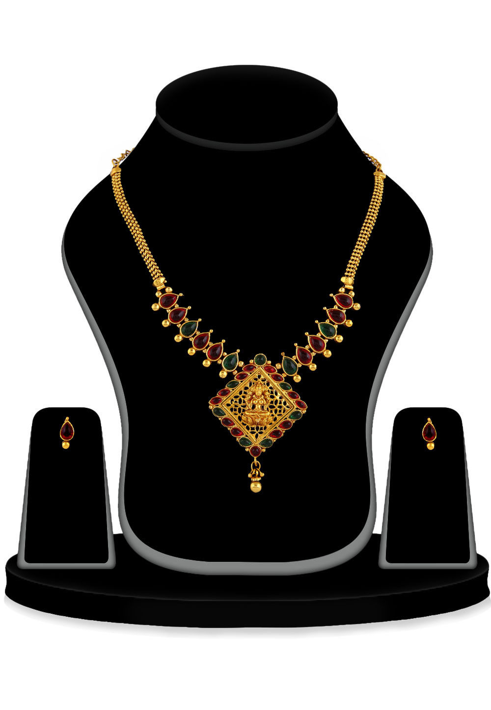 Stone Studded Necklace set in Multicolor