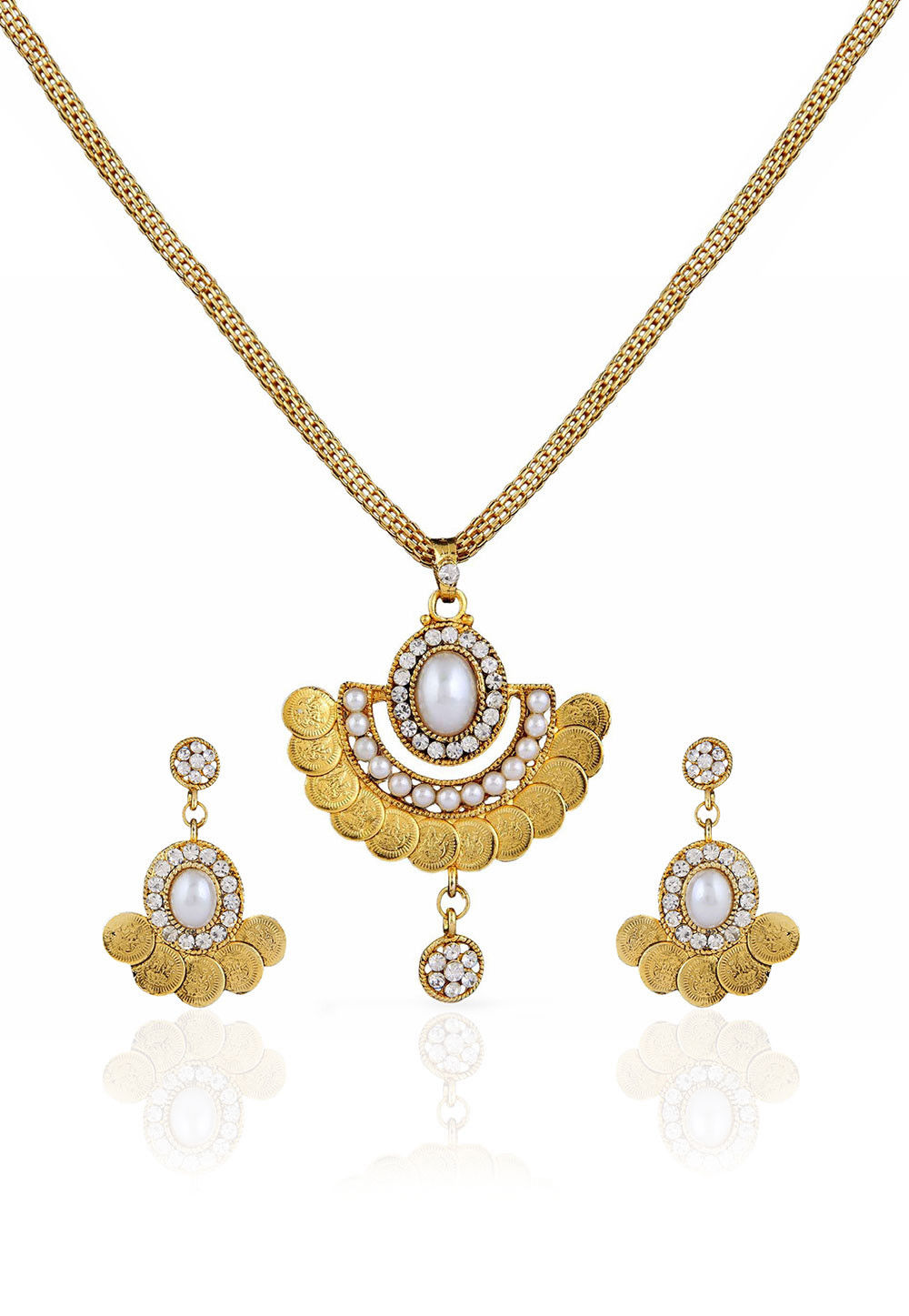 Stone Studded Pendant Set in Golden and White